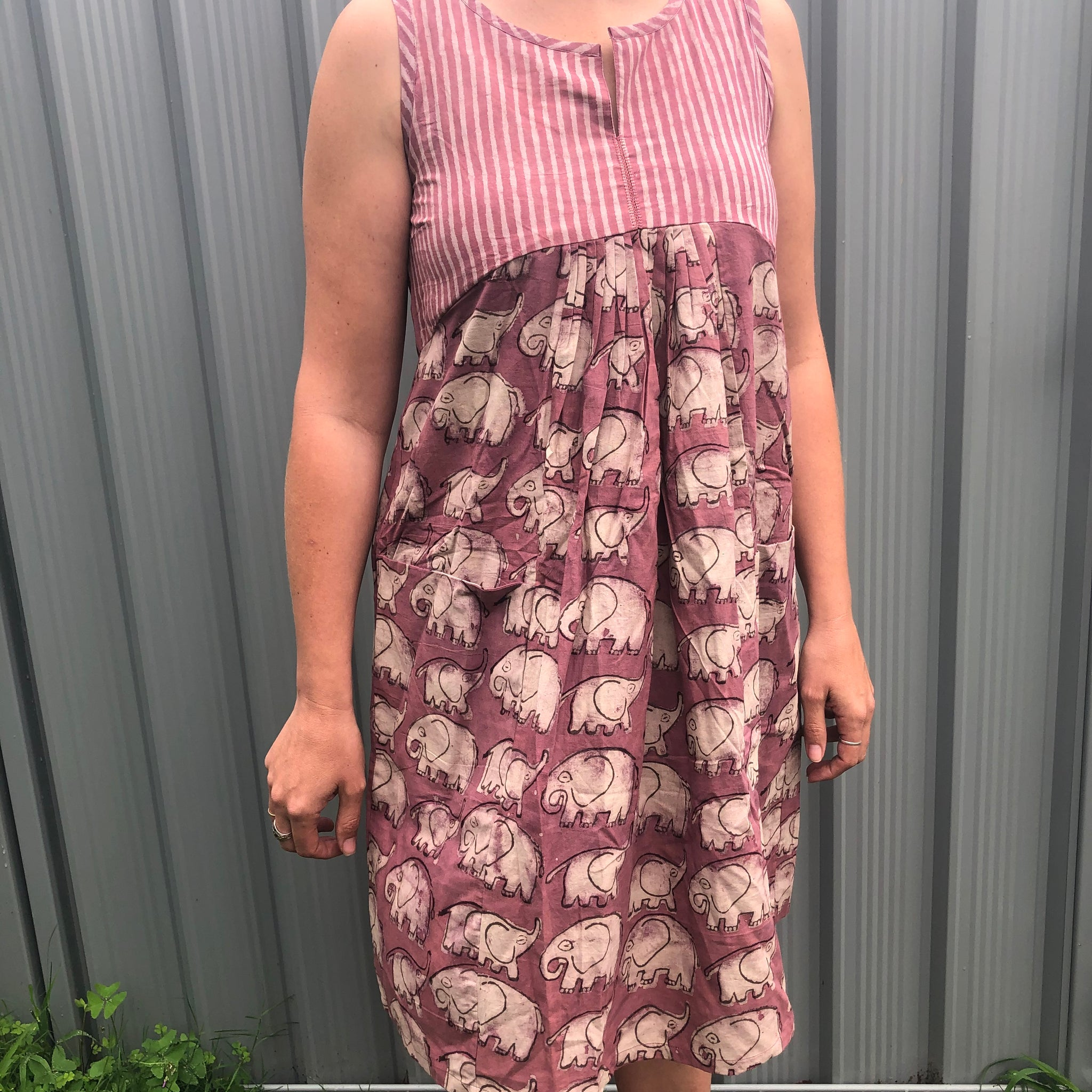 Fair Trade Ethical Mud Resistant Cotton Sleeveless Dress Pink Elephants