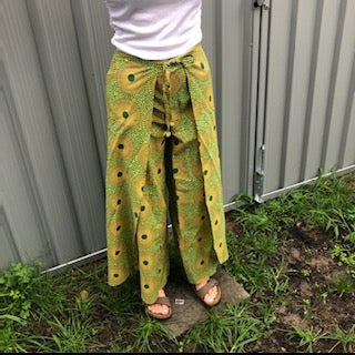 Fair Trade Ethical Cotton Print Wrap Pants in Yellow and Green