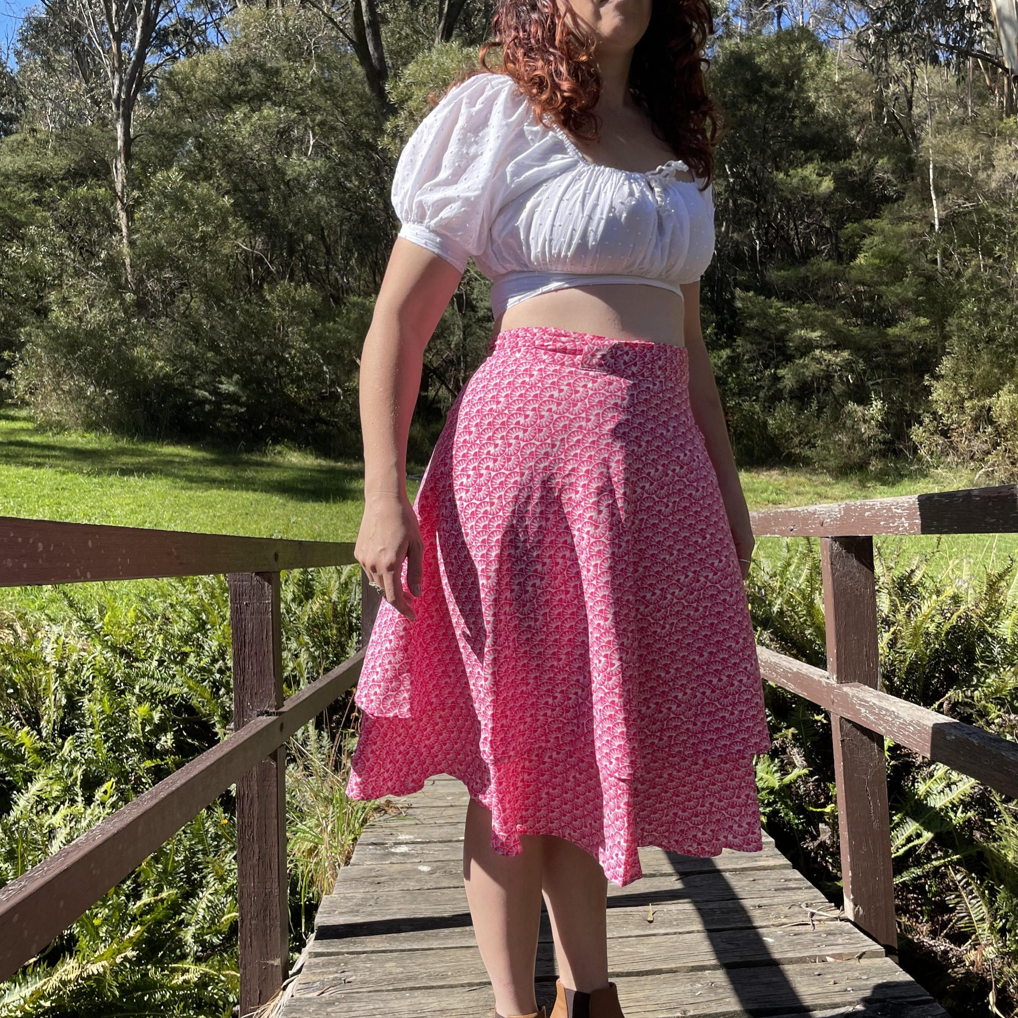 Fair Trade Pink Fan Upcycled Fabric Wrap Skirt