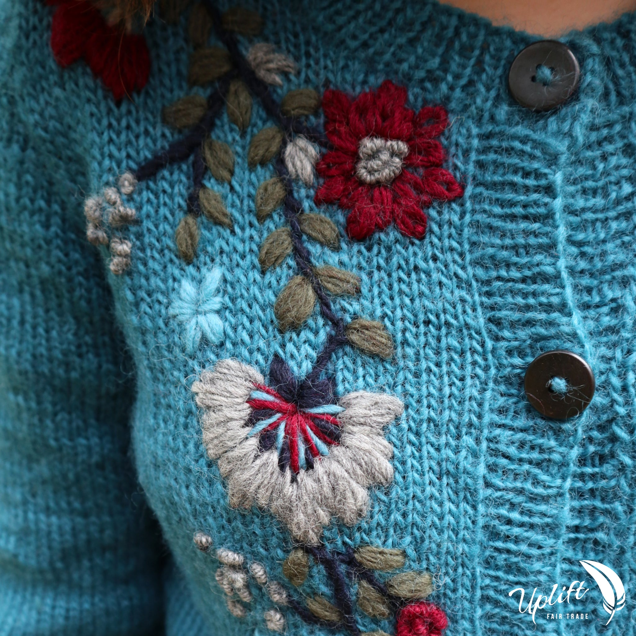 Fair Trade Ethical Women's Woollen Cardigan with Embroidery