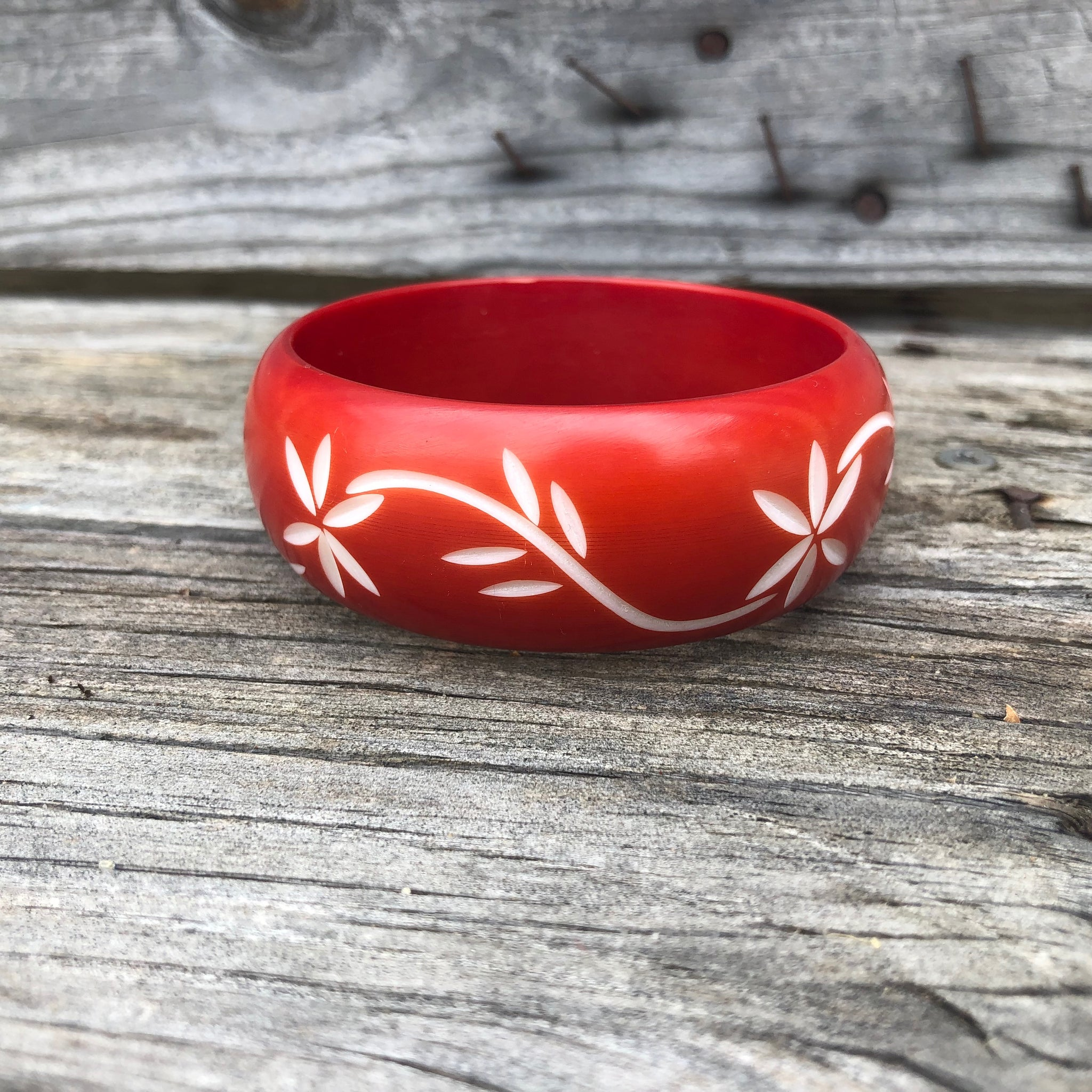 Fair Trade Ethical Hand Carved Resin Flower Bangle