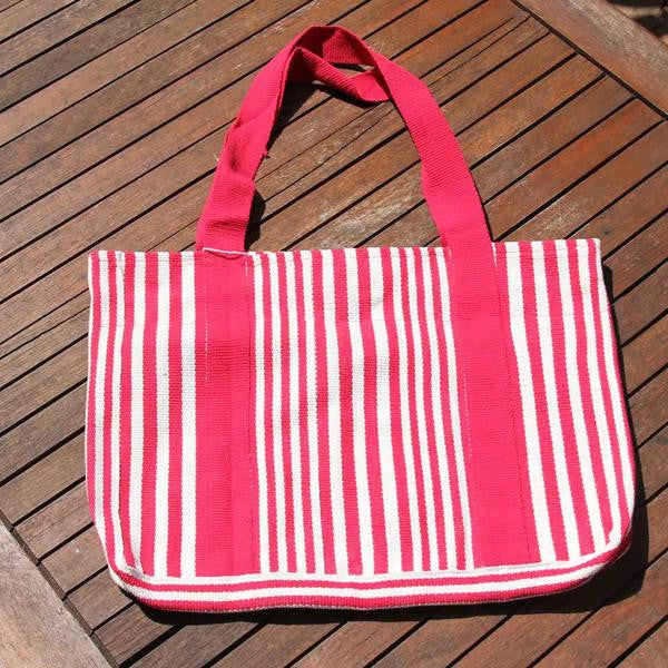Fair Trade Safe Shopper Bag - Red & White