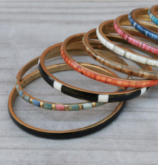 Fair Trade Thin Metal and Resin Bangle (Assorted)