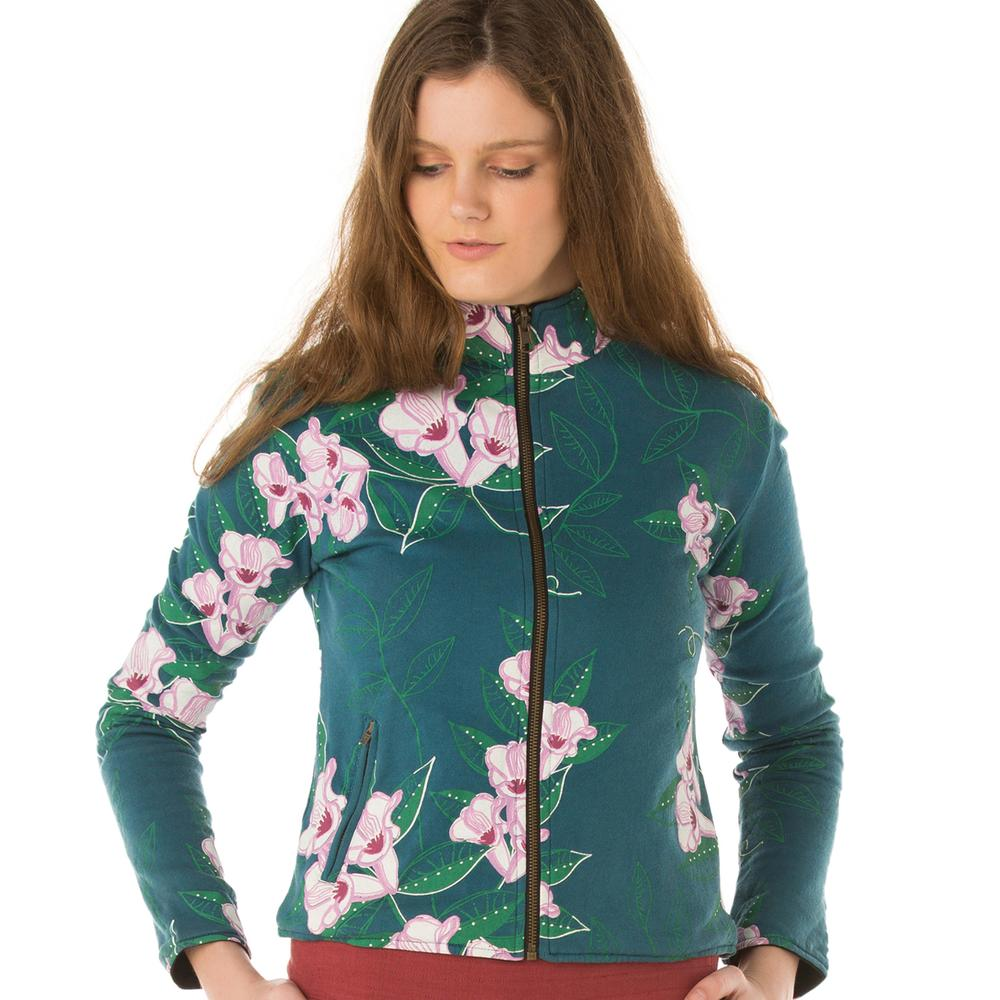 Fair Trade Women's Reversible Jacket Blue Print