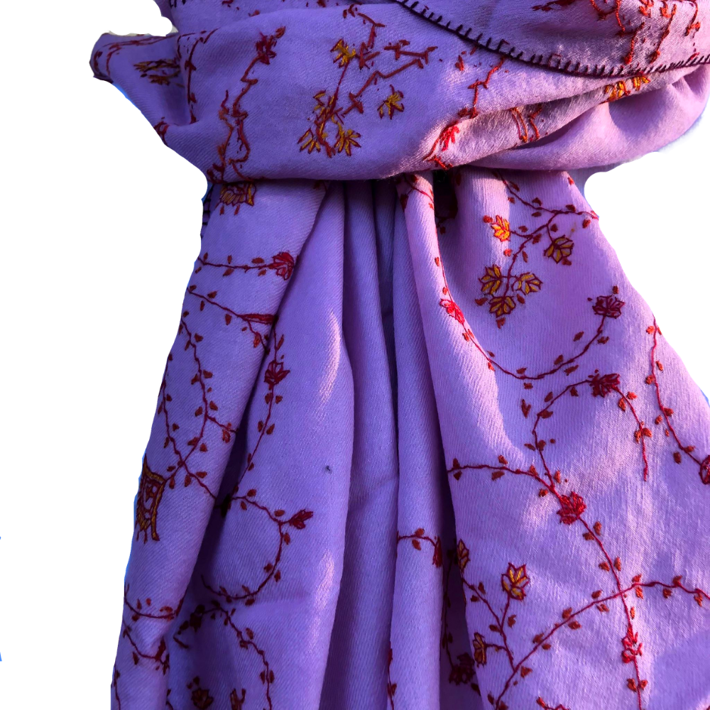 Fair Trade Embroidered Wool Shawl/Stole/Scarf (Purple Paisley)