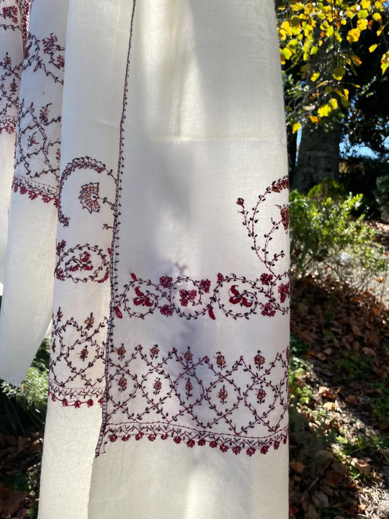 Fair Trade Embroidered Wool Shawl/Stole/Scarf (White Paisley)