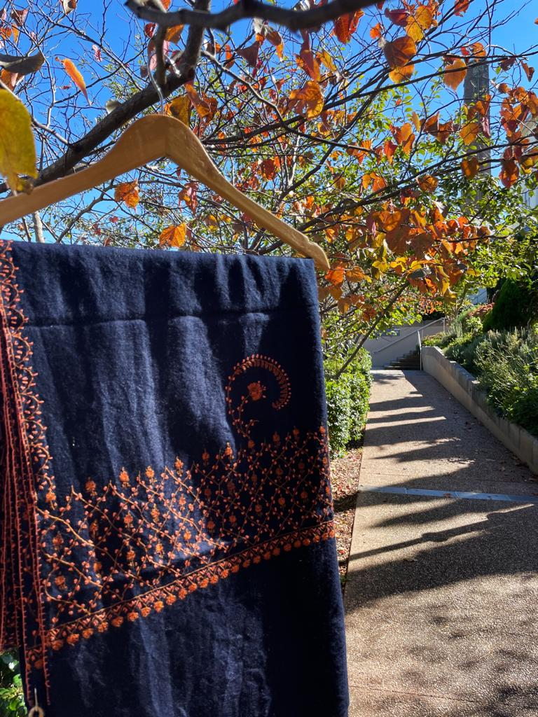 Fair Trade Embroidered Wool Shawl/Stole/Scarf (Navy Paisley)