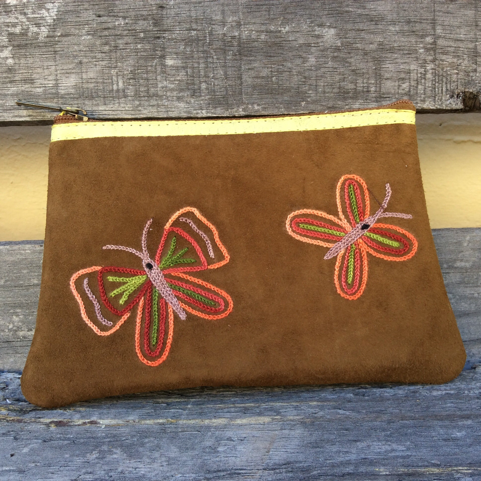 Fair Trade Ethical Suede Butterfly Coin Purse