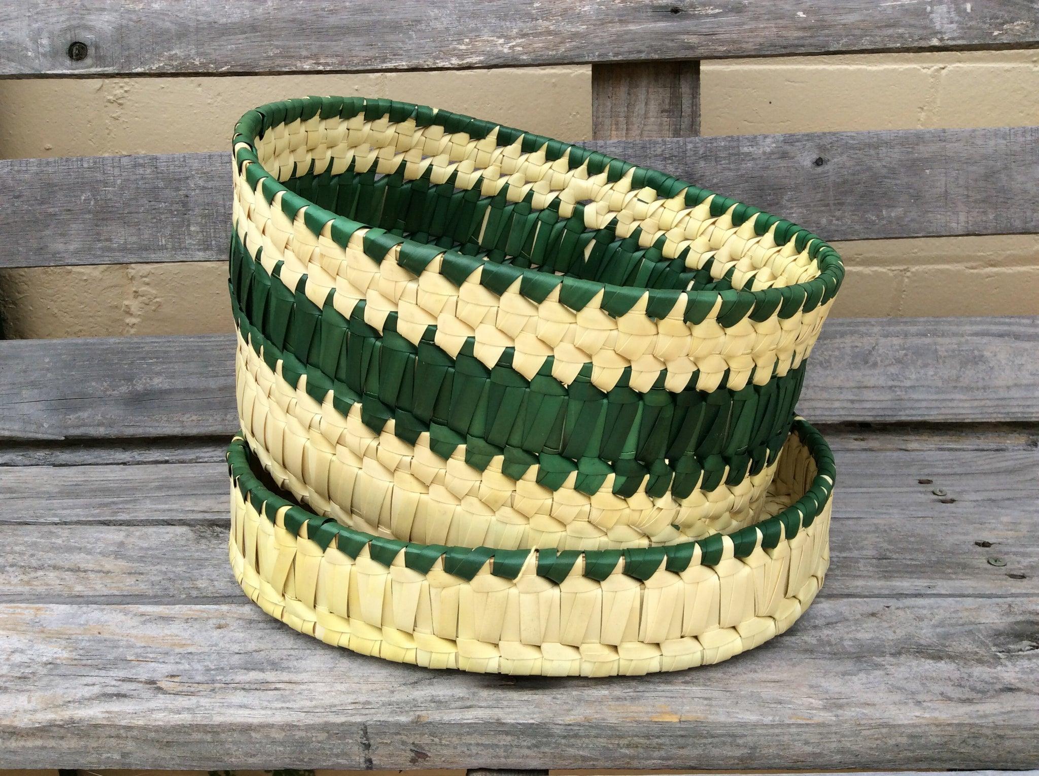 Palm Leaf Oval Basket with Lid
