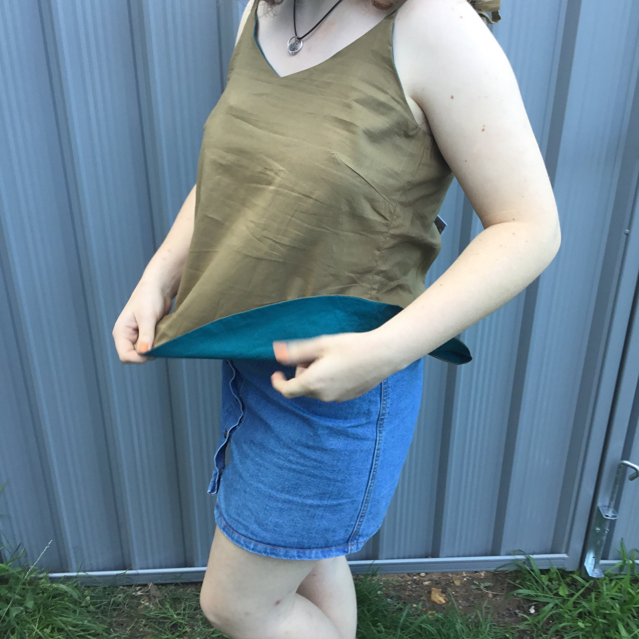 Fair Trade Ethical Cotton Reversible Cami Top in Olive and Green