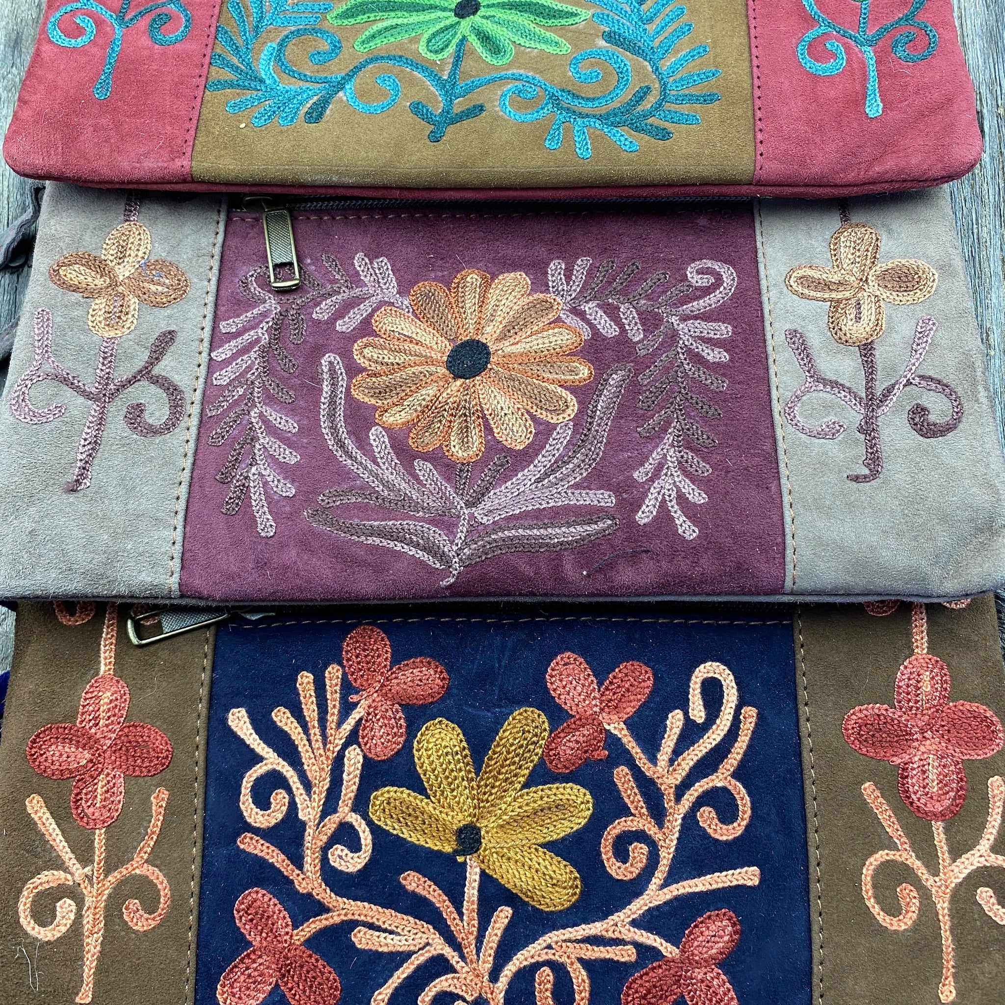 Fair Trade Ethical  Embroidered Suede Clutch Purse Assorted