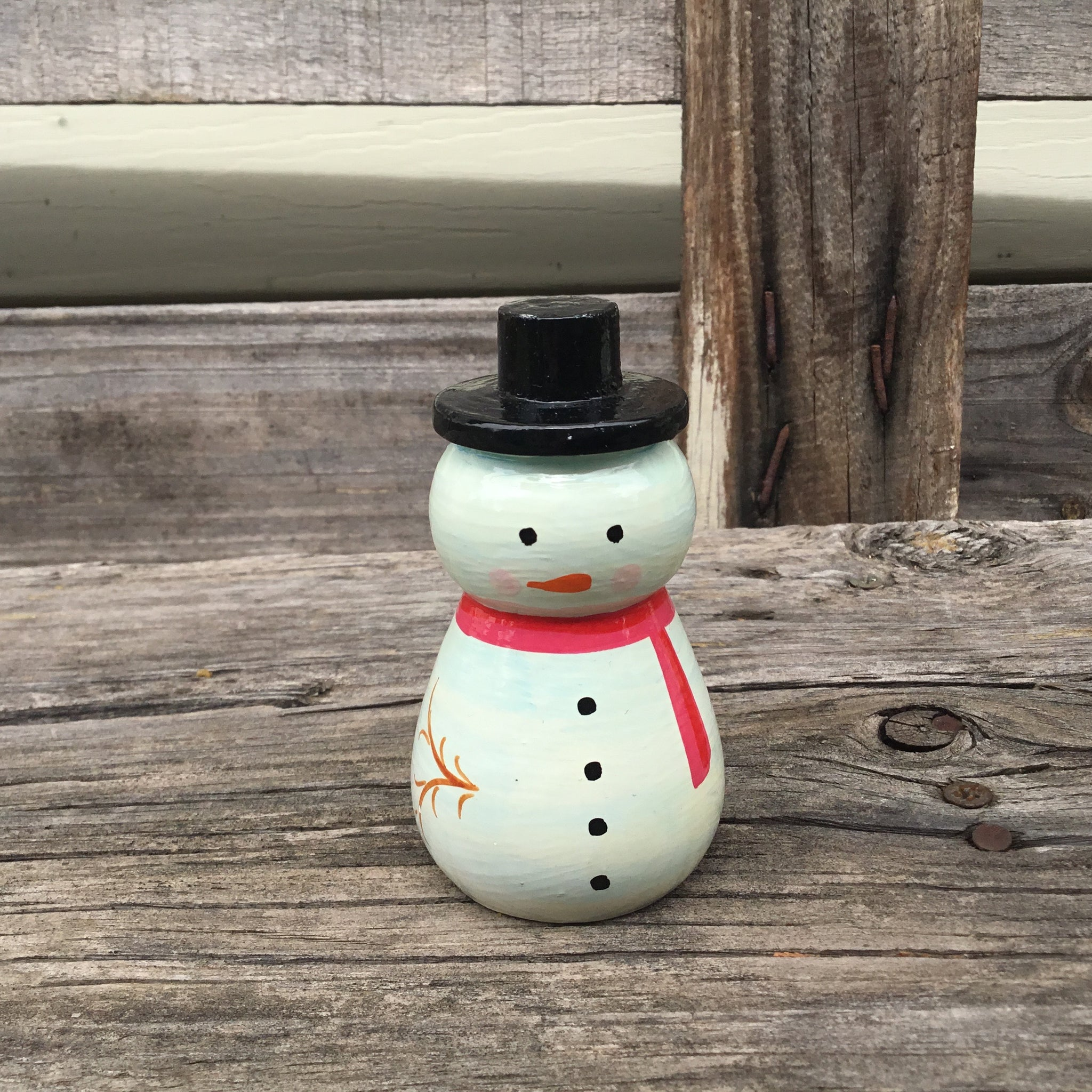 Fair Trade Ethical Christmas Decoration Small Wooden Snowman