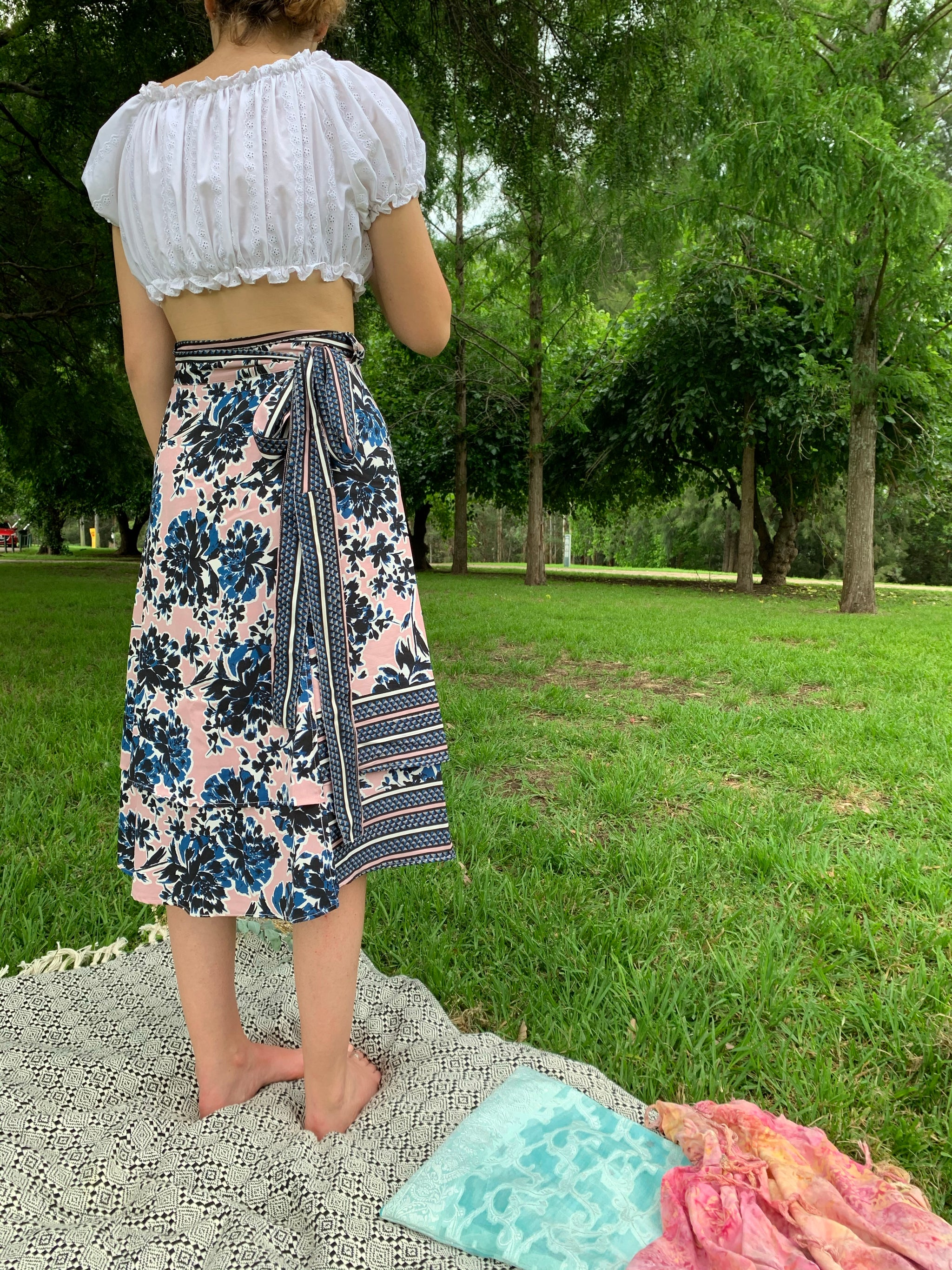 Fair Trade Pink Paradise Upcycled Fabric Wrap Skirt