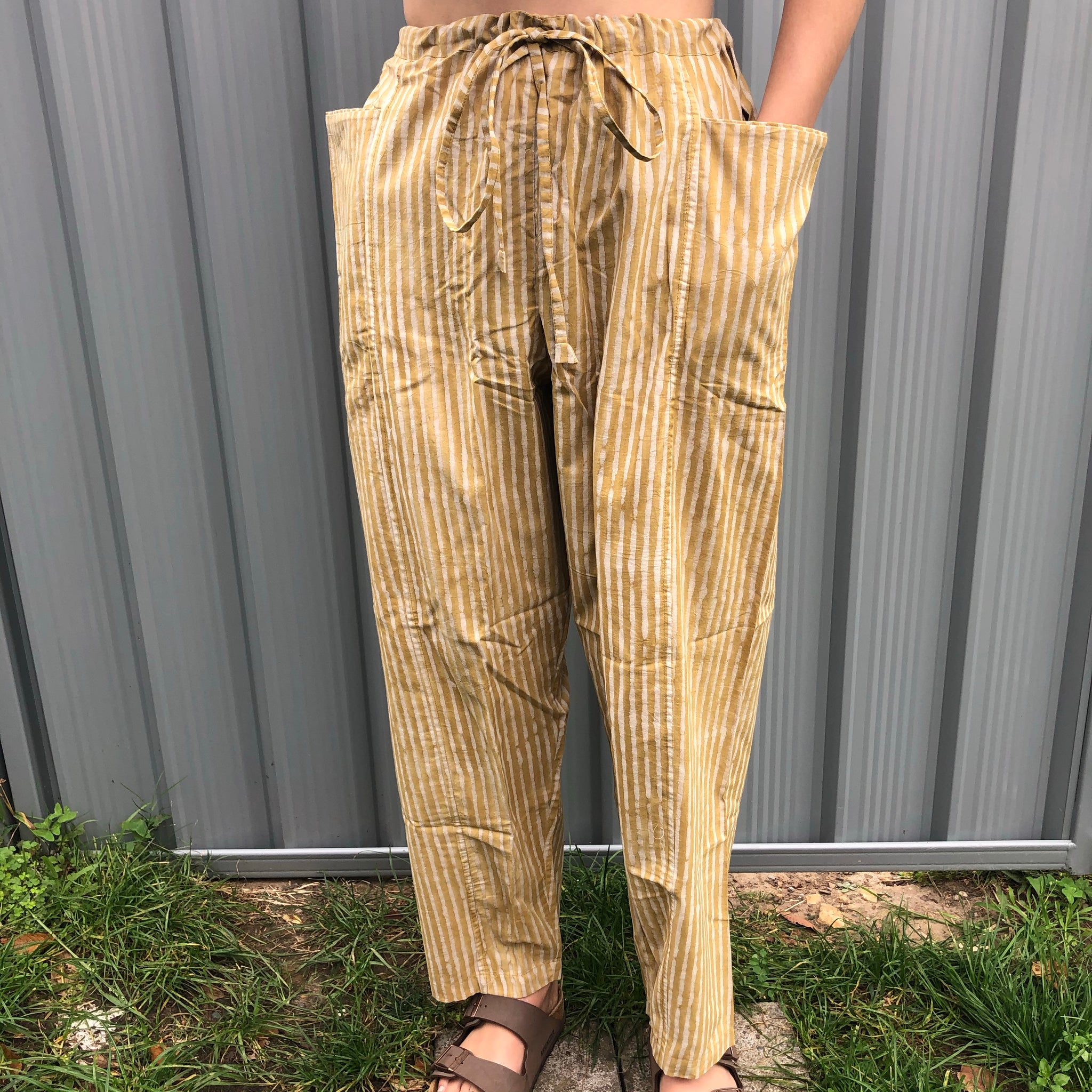 Fair Trade Ethical  Striped Cotton Pants in Light Brown
