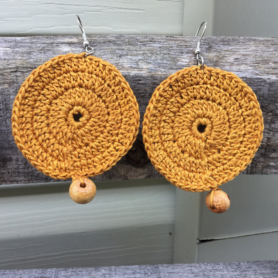 Fair Trade Earrings Tatted with Hanging Wooden Bead