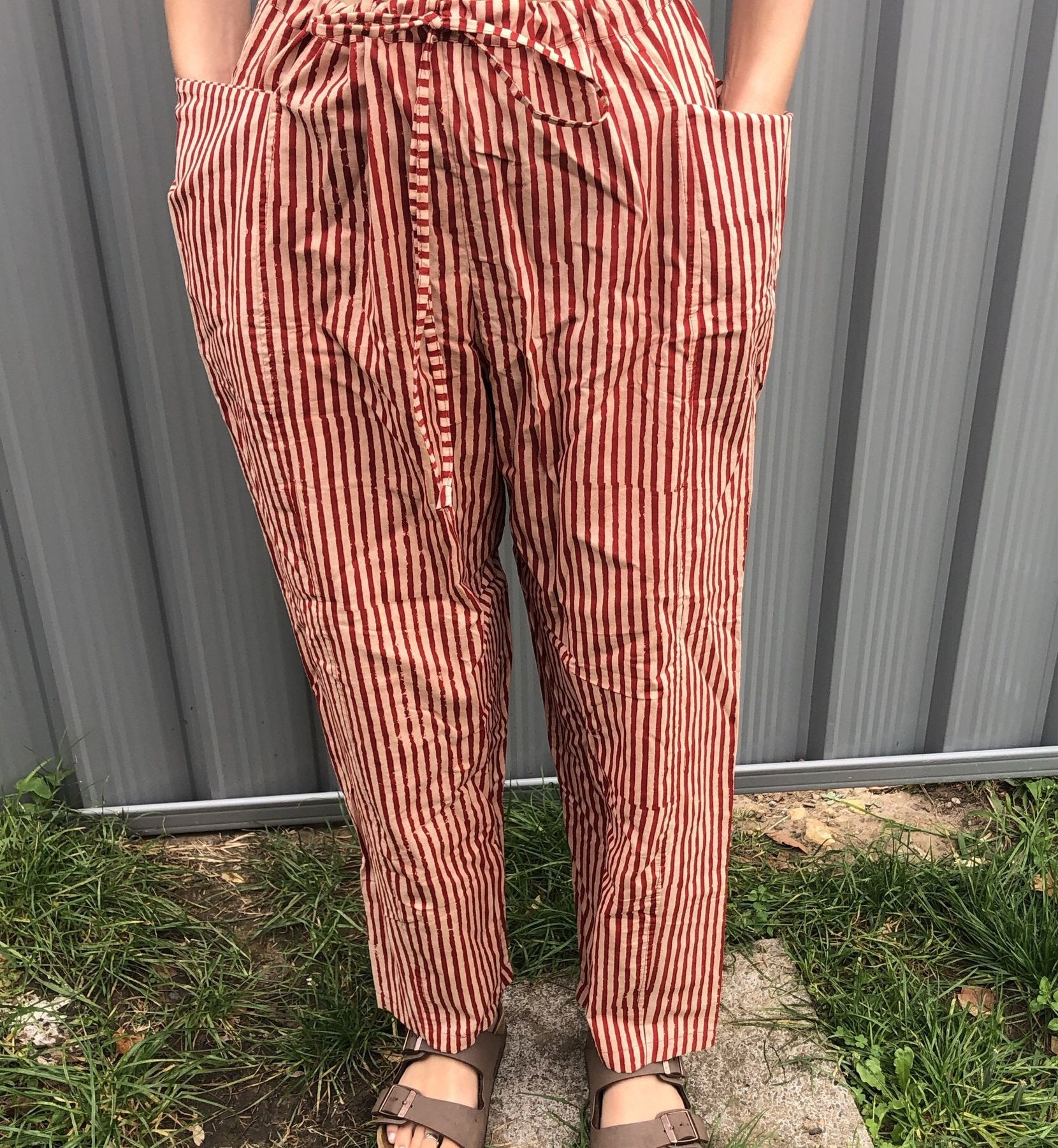 Fair Trade Ethical Striped Cotton Striped Pants in Red