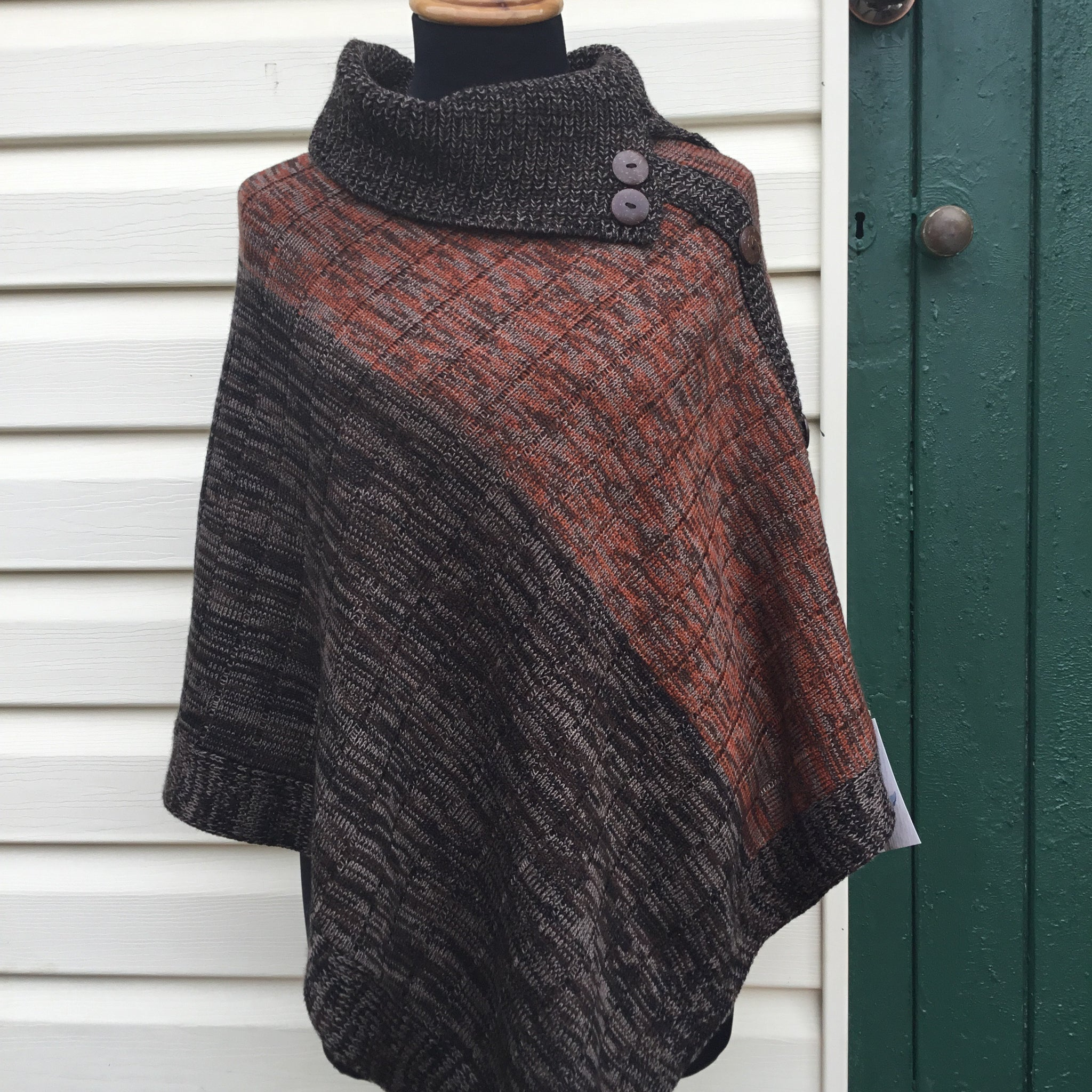 Fair Trade Ethical Woollen Poncho with Buttons