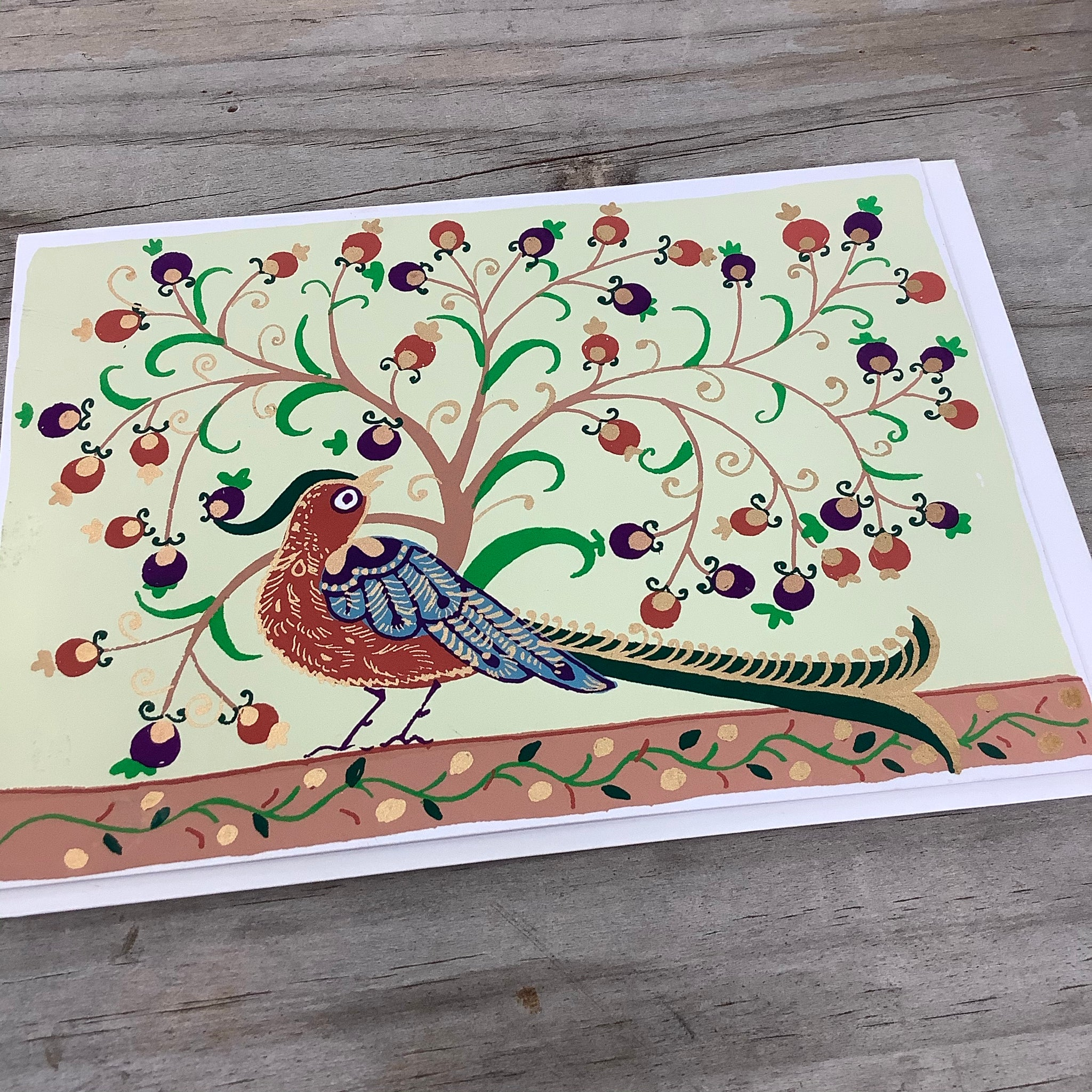 Fair Trade Festive Birds Greeting Card