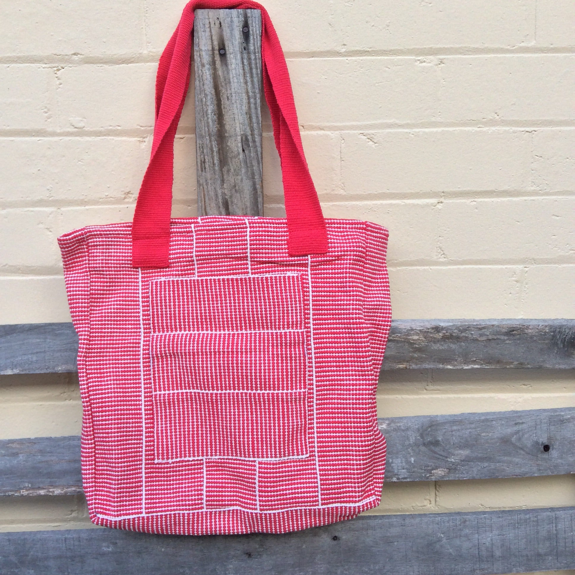 Fair Trade Large Woven Zip Bag - Red and White