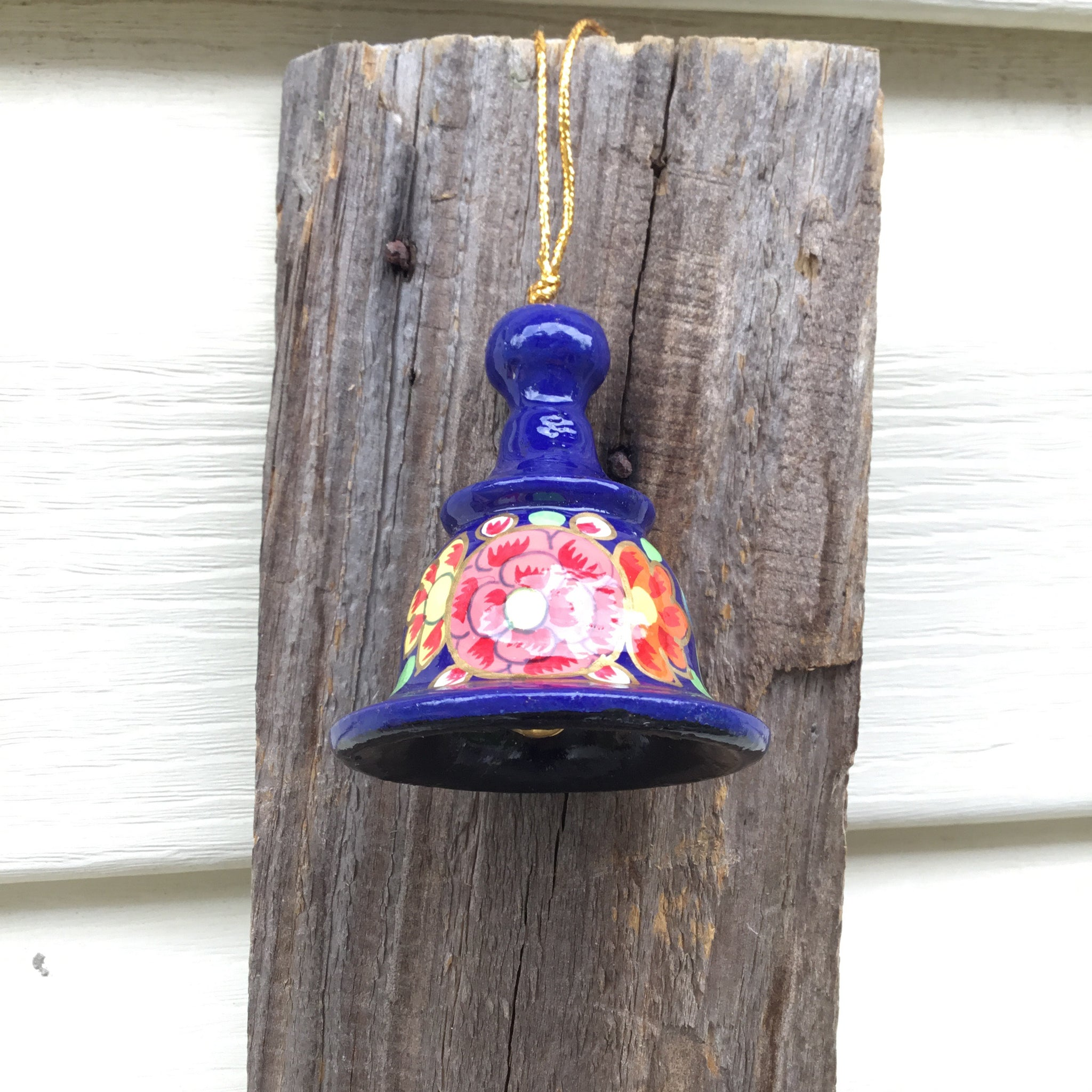 Fair Trade Ethical Christmas Decoration Small Hanging Bell Blues and Greens