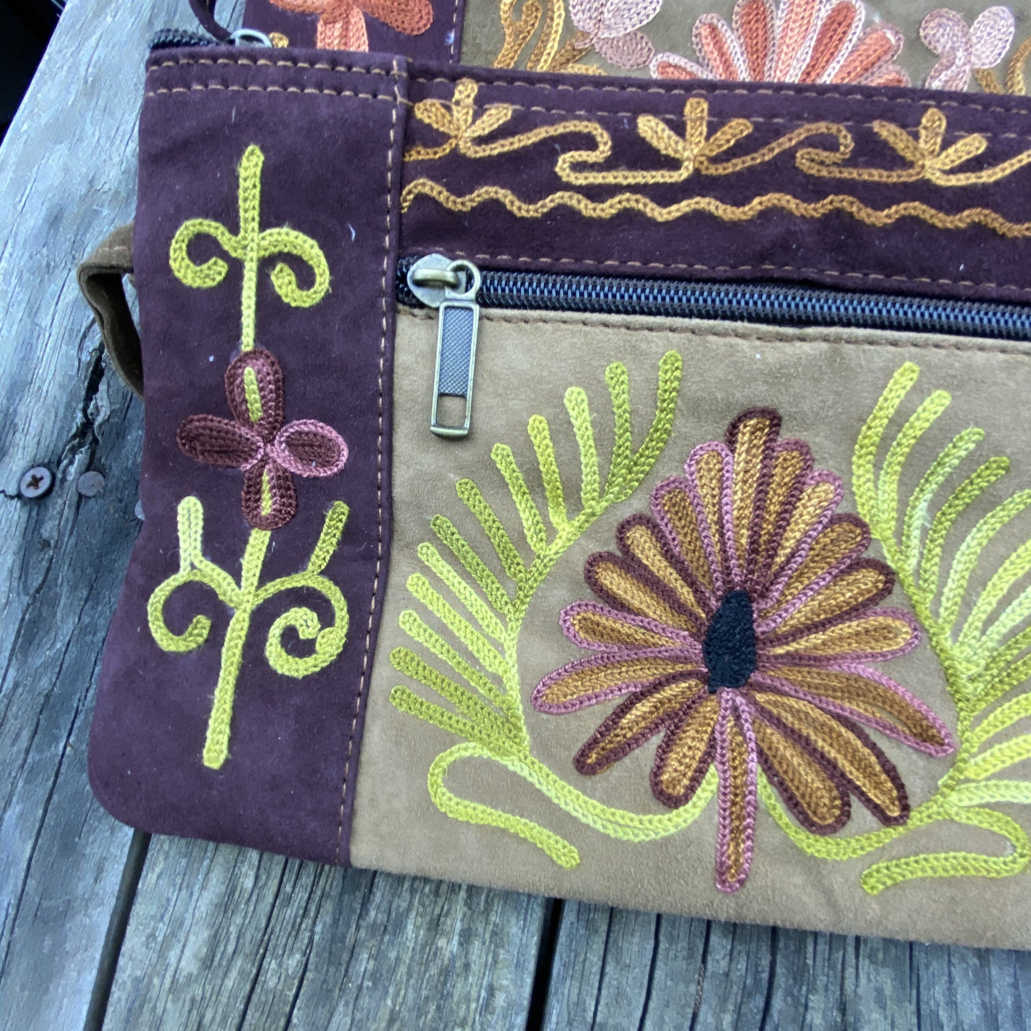 Fair Trade Ethical  Embroidered Suede Clutch Purse Maroon-Assorted