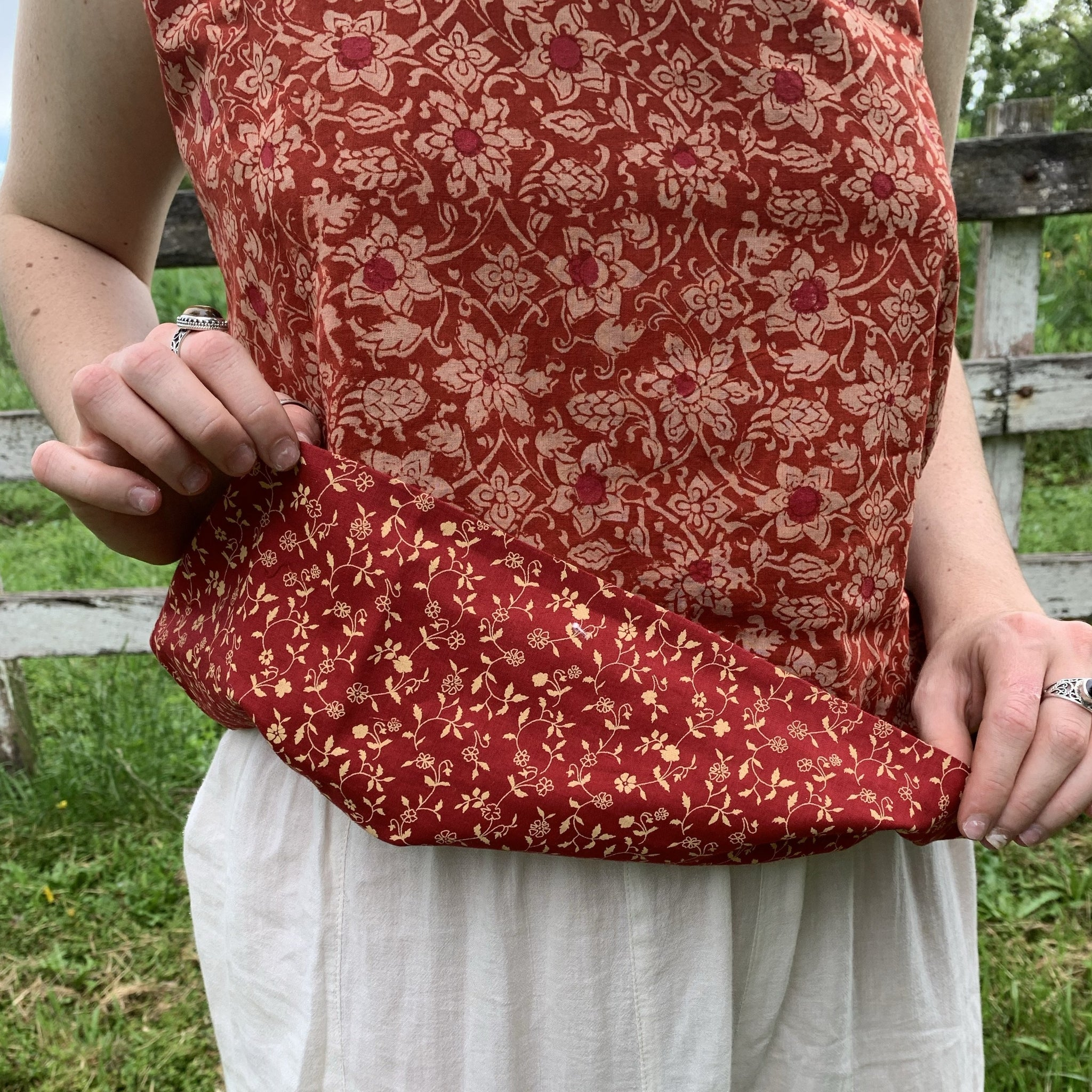 Fair Trade Ethical Cotton Reversible Sleeveless Top Red Flower
