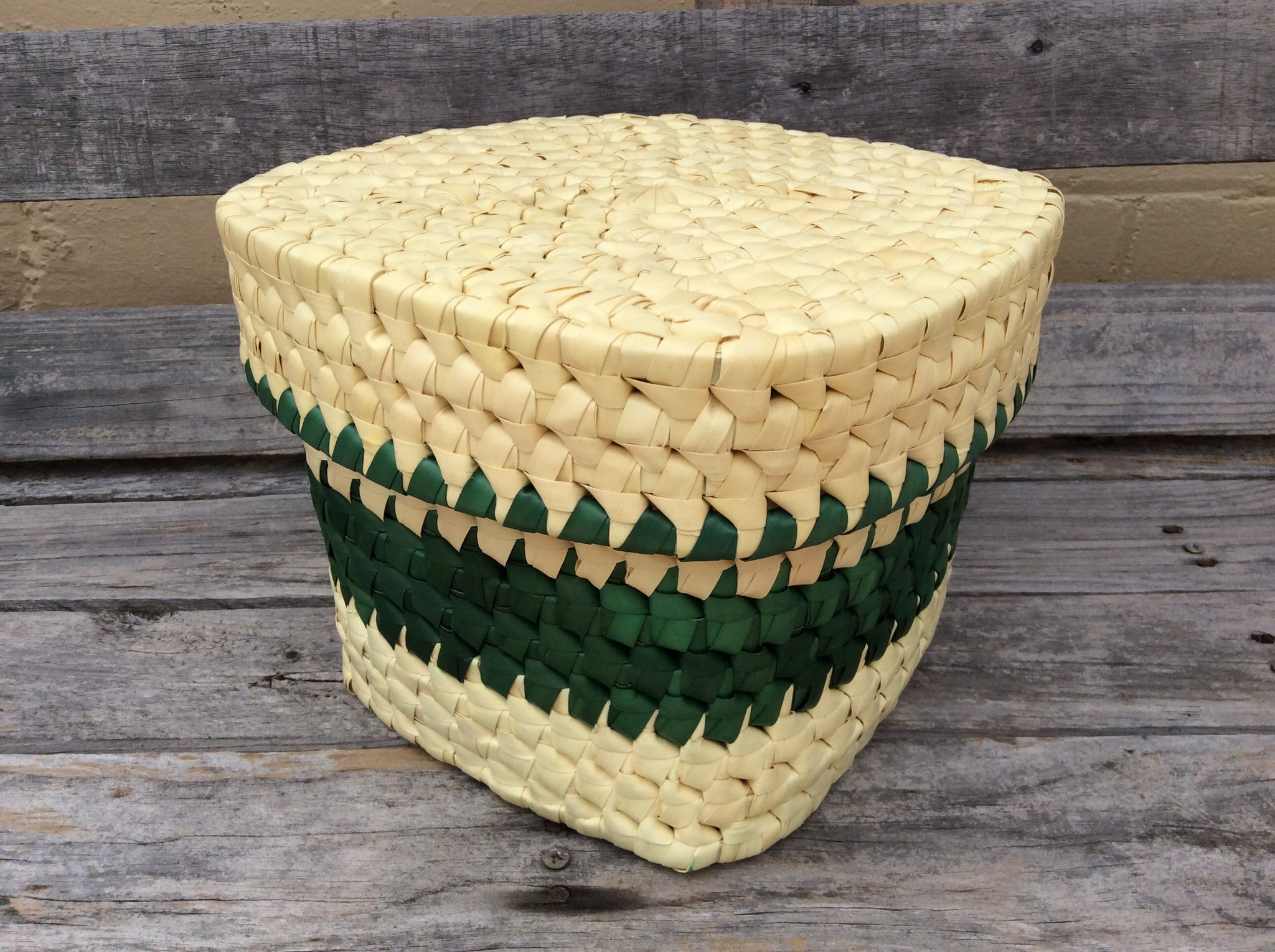 Palm Leaf Square Basket with Lid