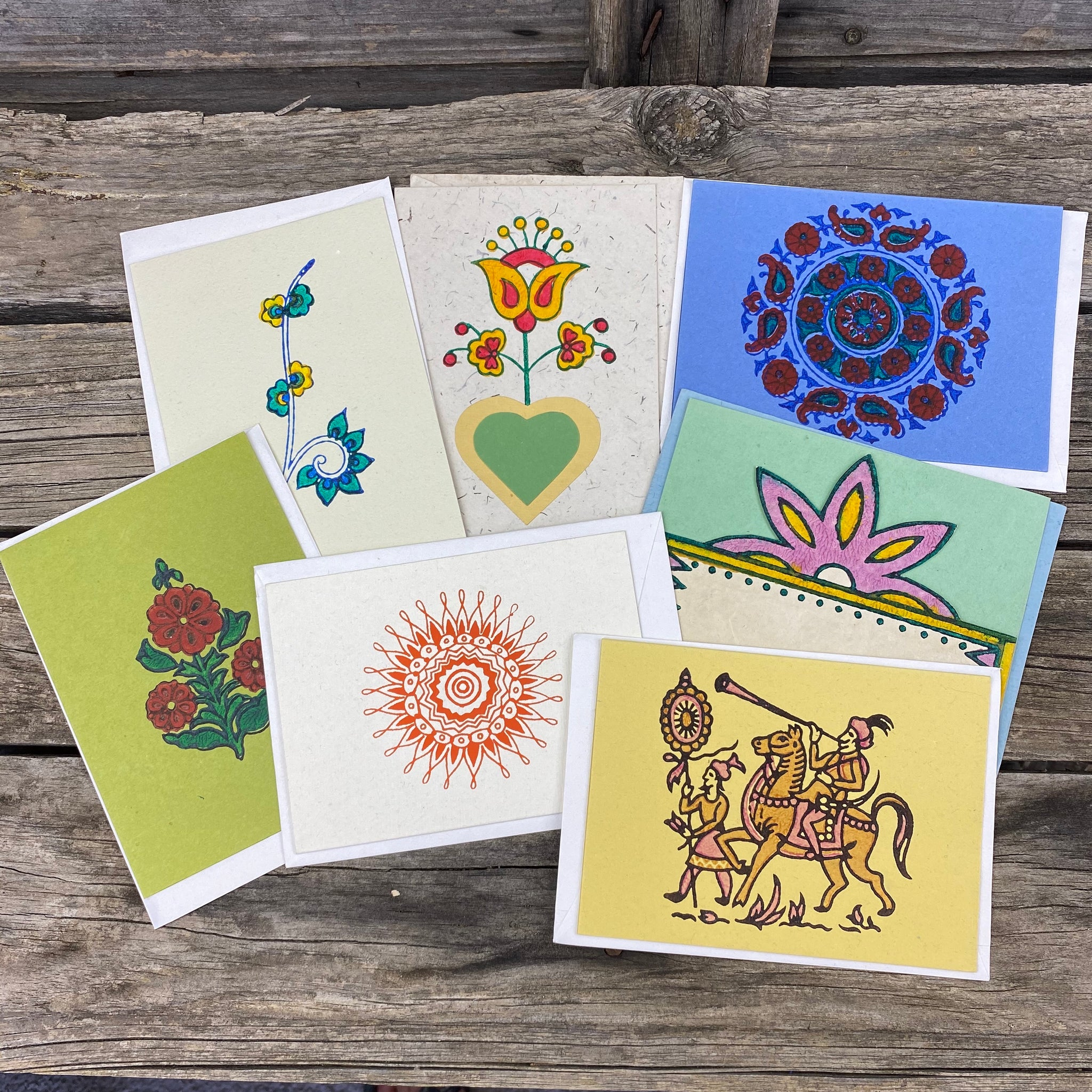 Fair Trade Block Printed Greeting Cards Assorted