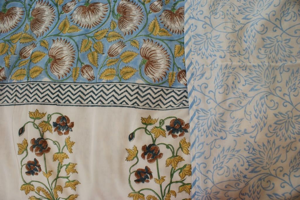 Fair Trade Organic Handmade Bedcover - Dohar Powder Blue