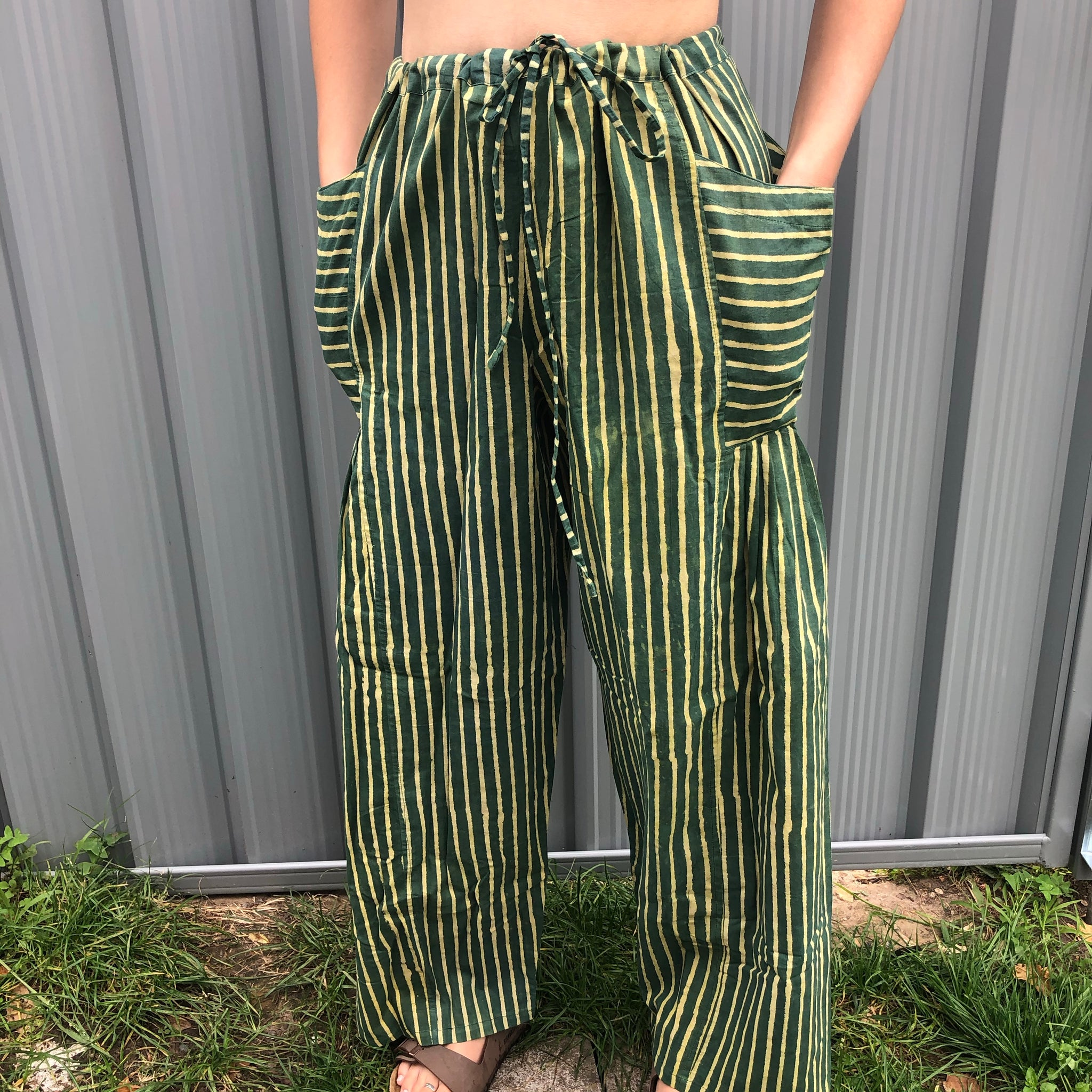 Fair Trade Ethical Striped Cotton Pants with Pleats -  Green