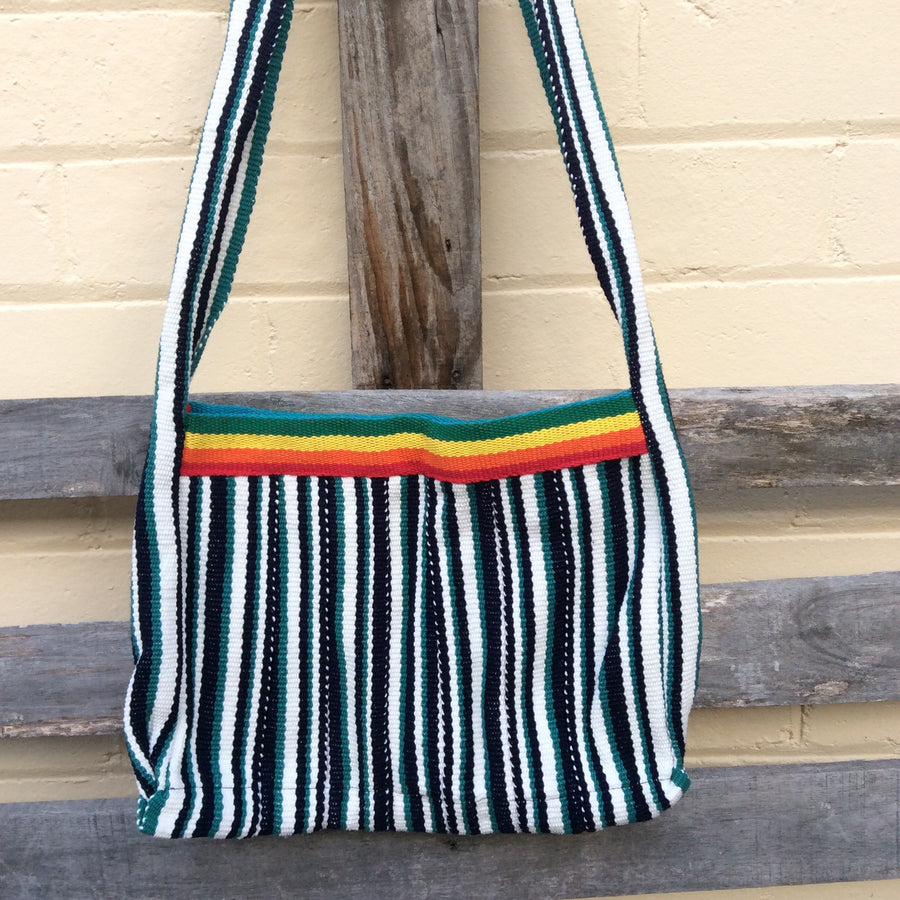 Fair Trade Long Shoulder Bag - Rainbow black and green