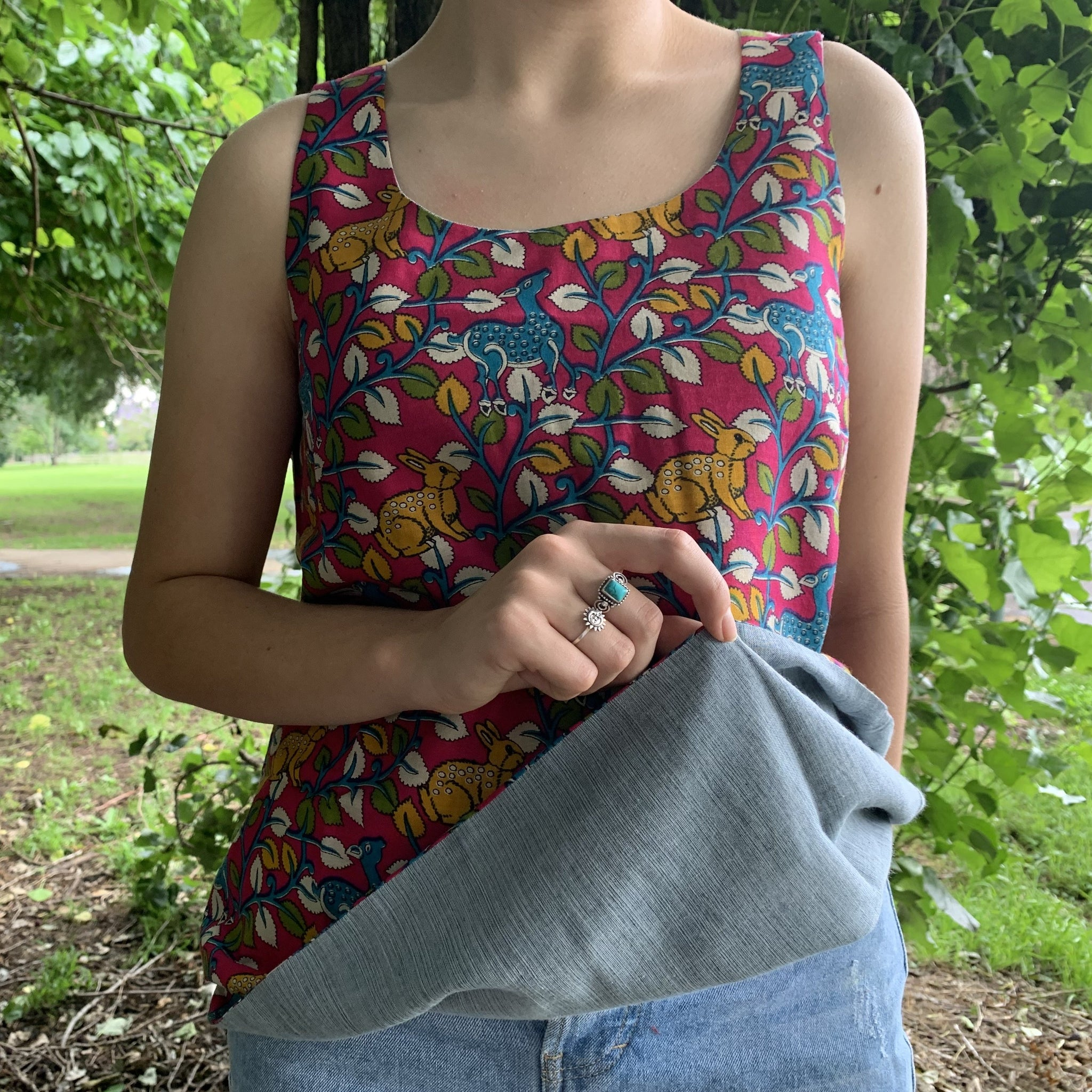 Fair Trade Cotton Reversible Top Deer and Bunny Pattern