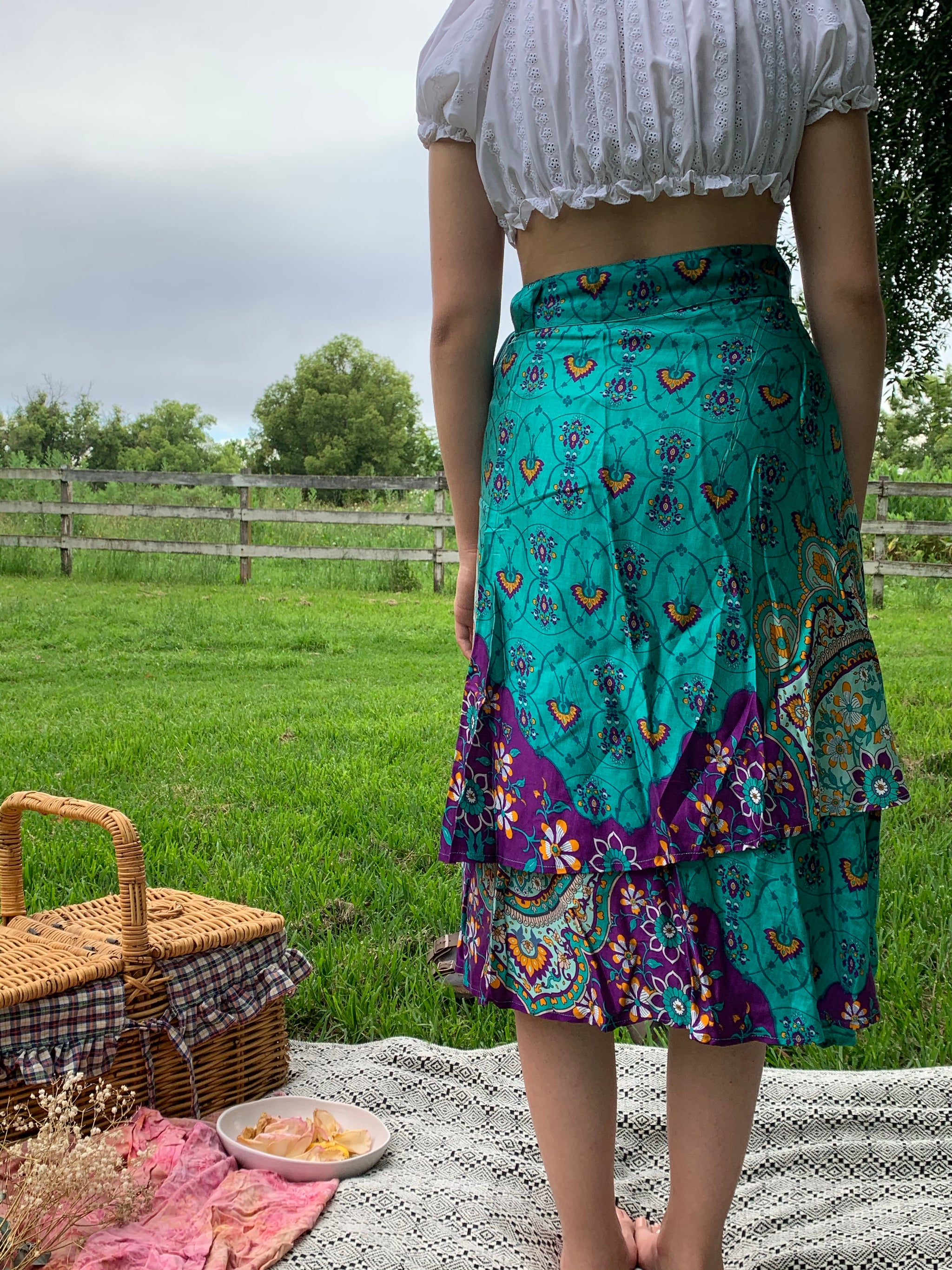 Fair Trade Royal Boho Upcycled Fabric Wrap Skirt