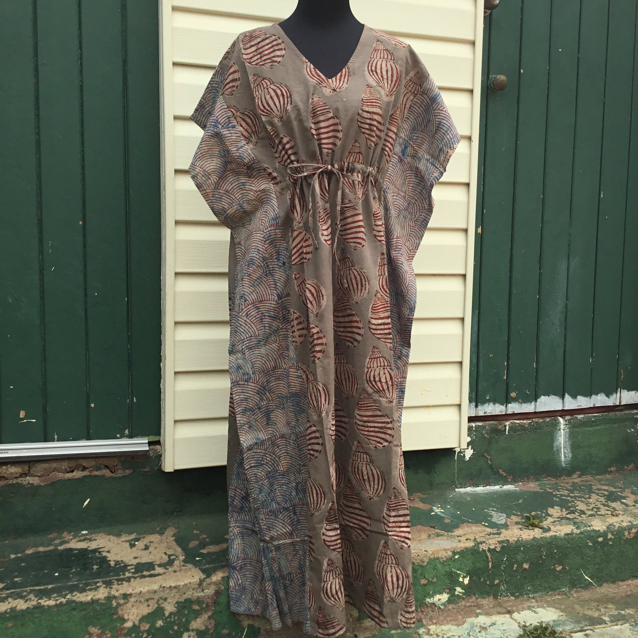 Fair Trade Long Kaftan (Brown Shell)