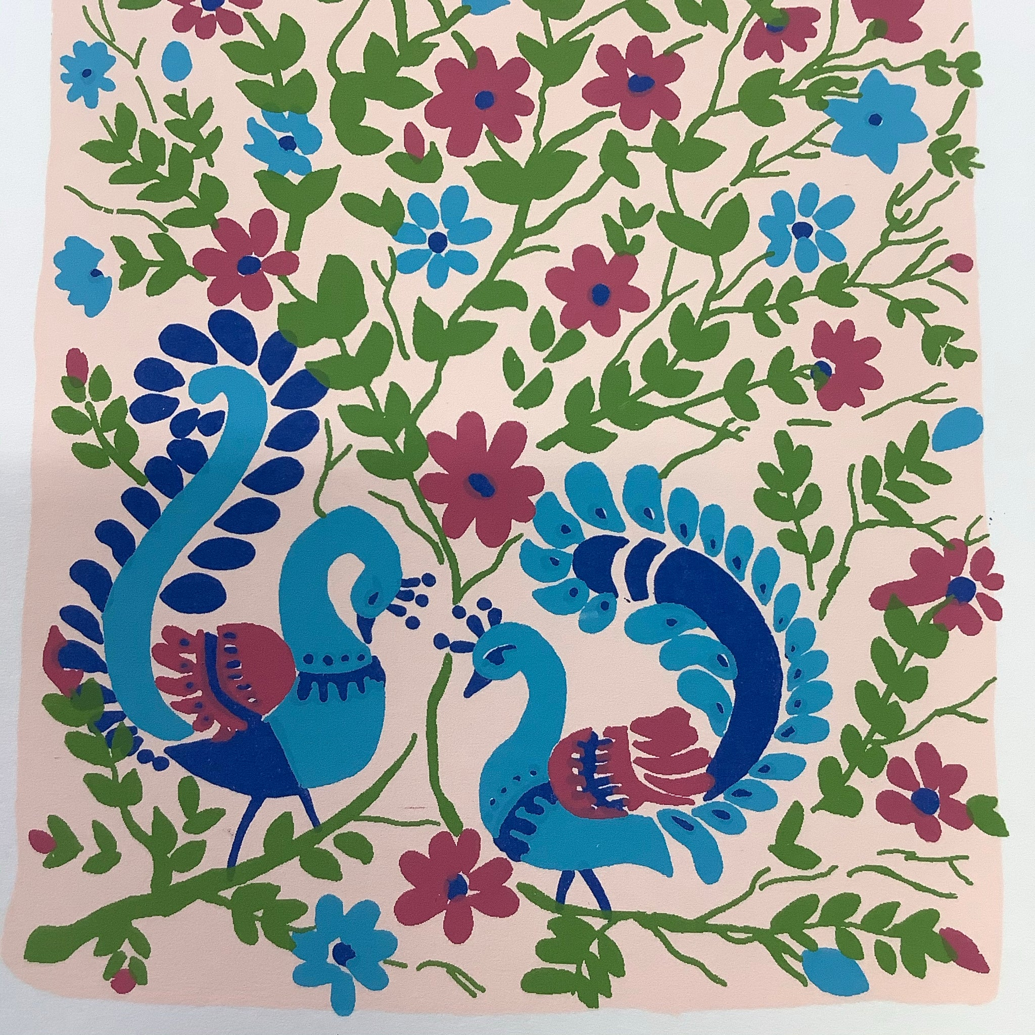 Fair Trade Peacock Lovers Greeting Card