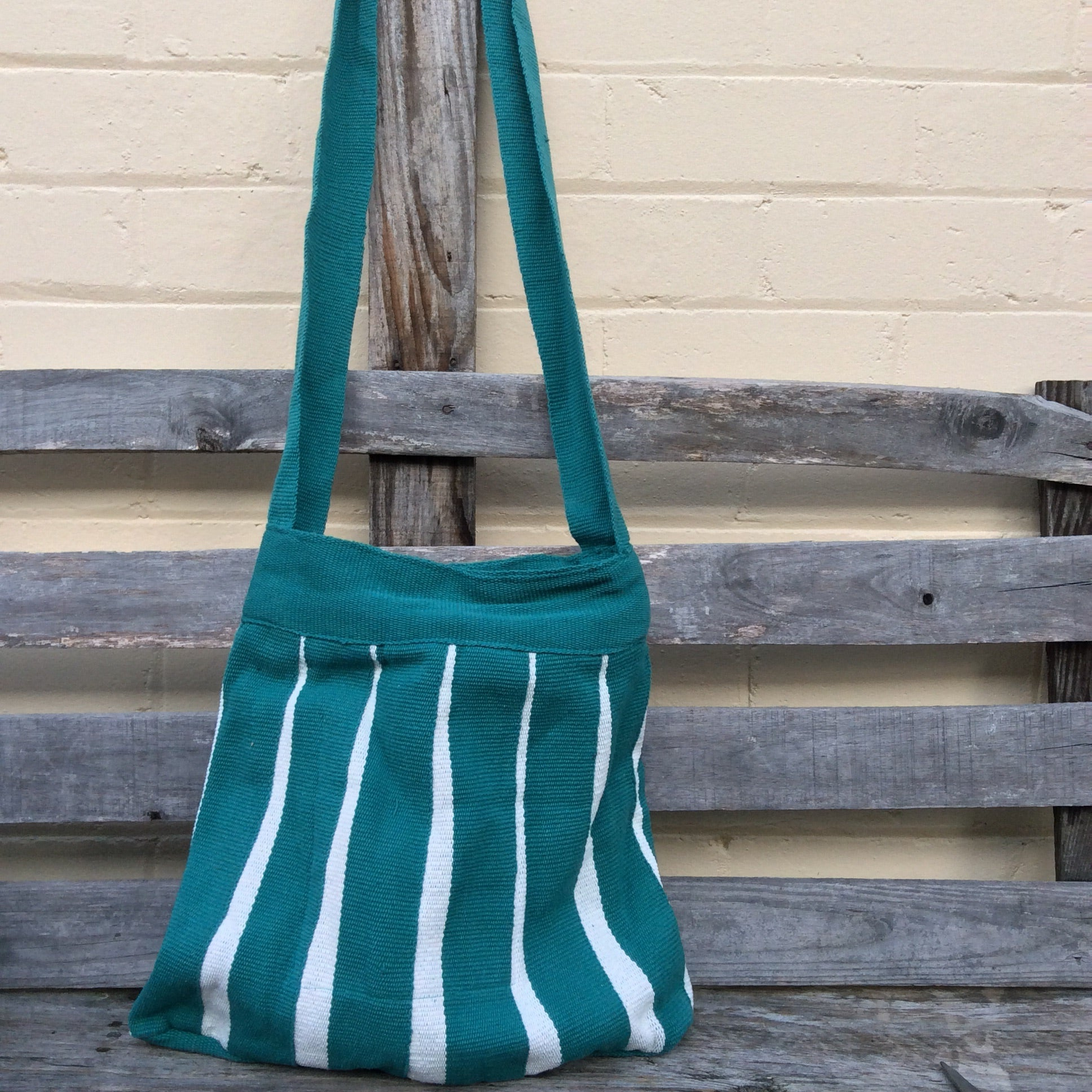 Fair Trade Long Handled Handbag - Green and White