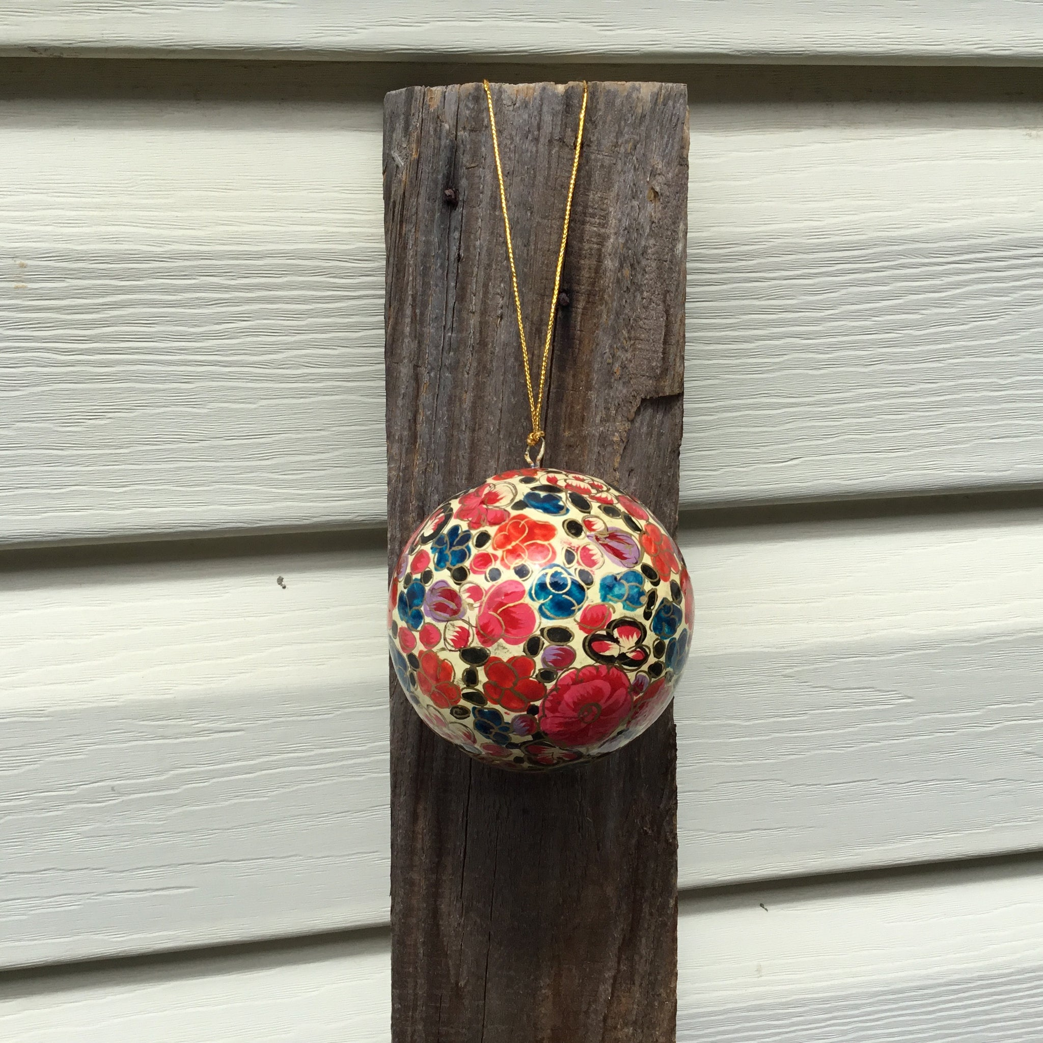 Fair Trade Ethical Christmas Decoration Bauble in Orange, Pink & Red