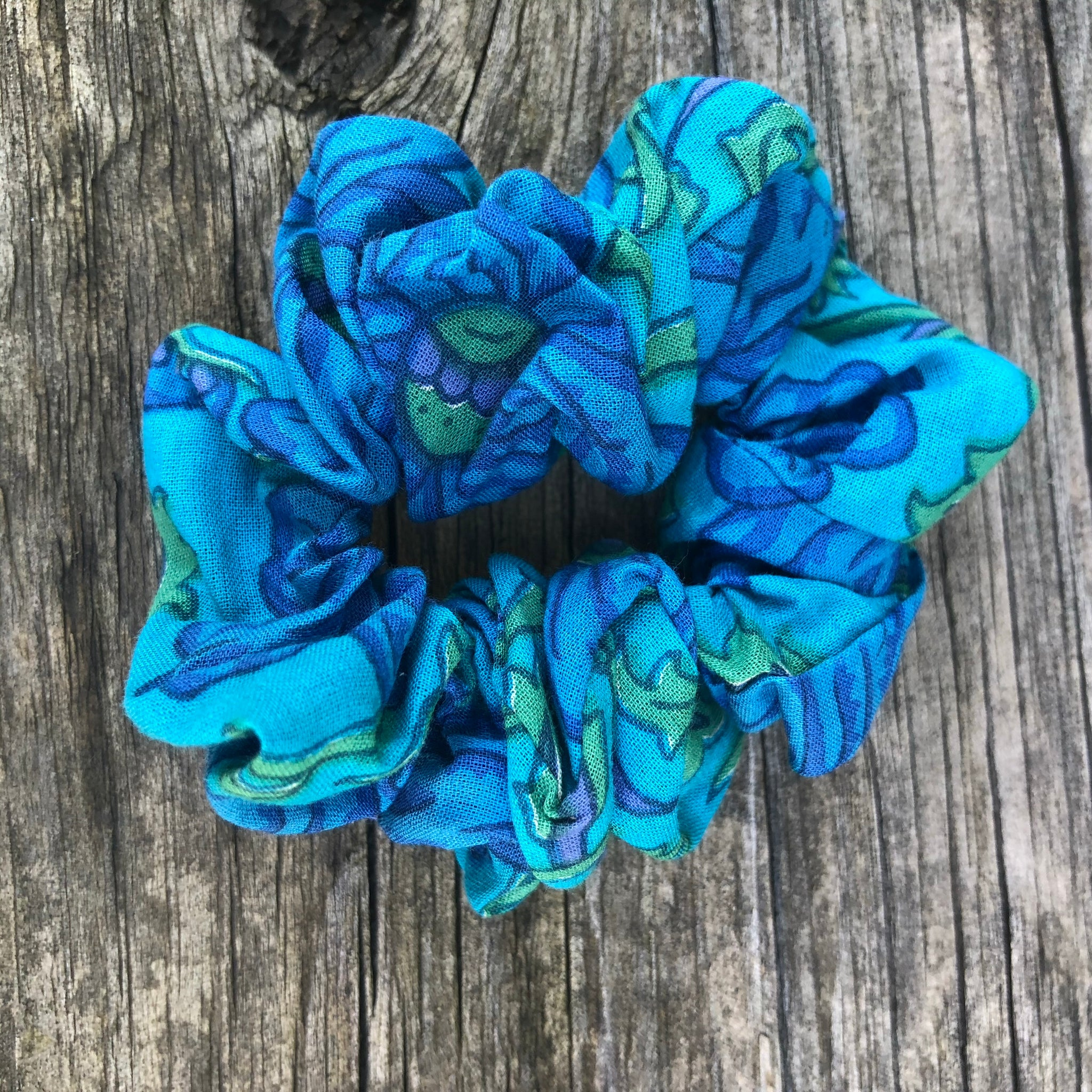 Fair Trade Ethical Scrunchies Turquoise Fabric Designs