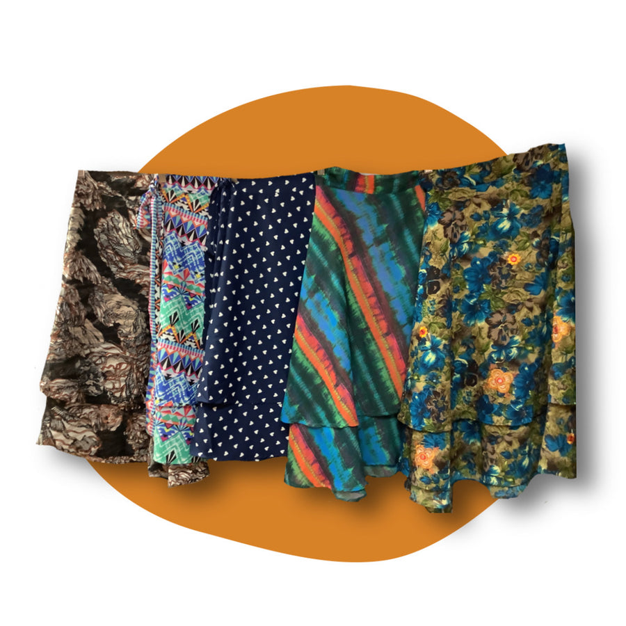 Fair Trade Upcycled  Wrap Skirt Assorted