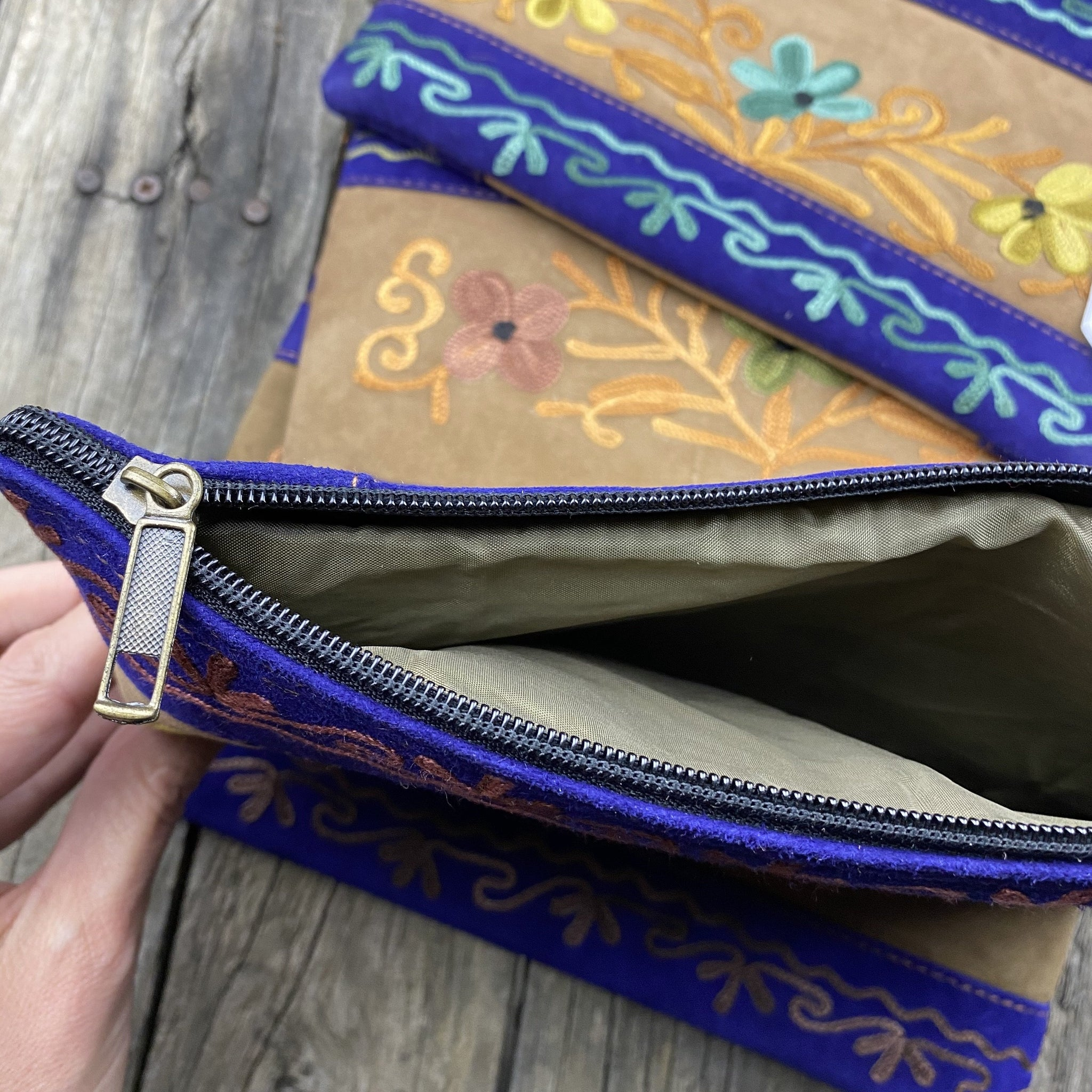 Fair Trade Ethical Embroidered Suede Clutch Purse Electric Blue-Assorted