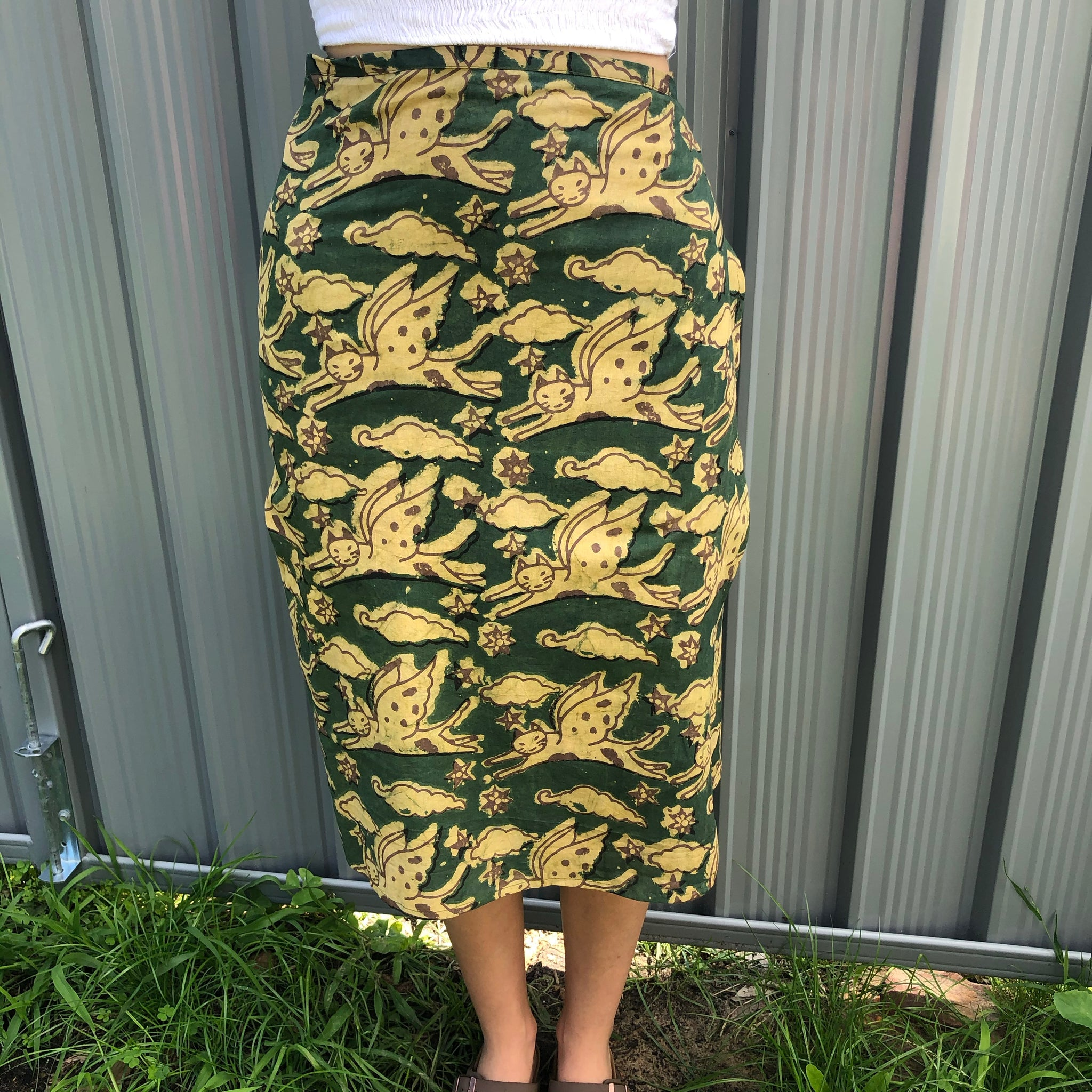 Fair Trade Ethical Cotton Mud Resistant Print Wrap Skirt Green Flying Cats Design