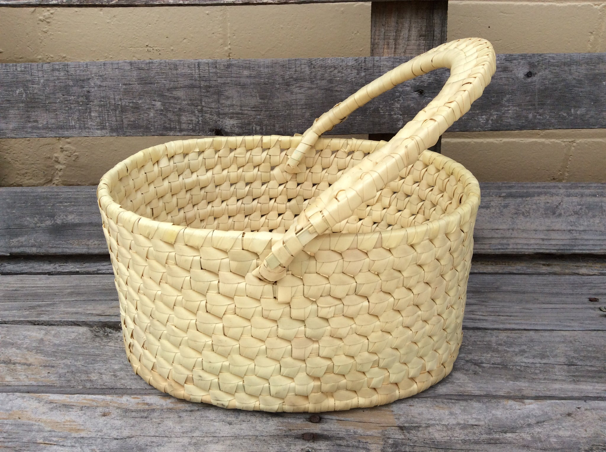 Palm Leaf Basket with handle