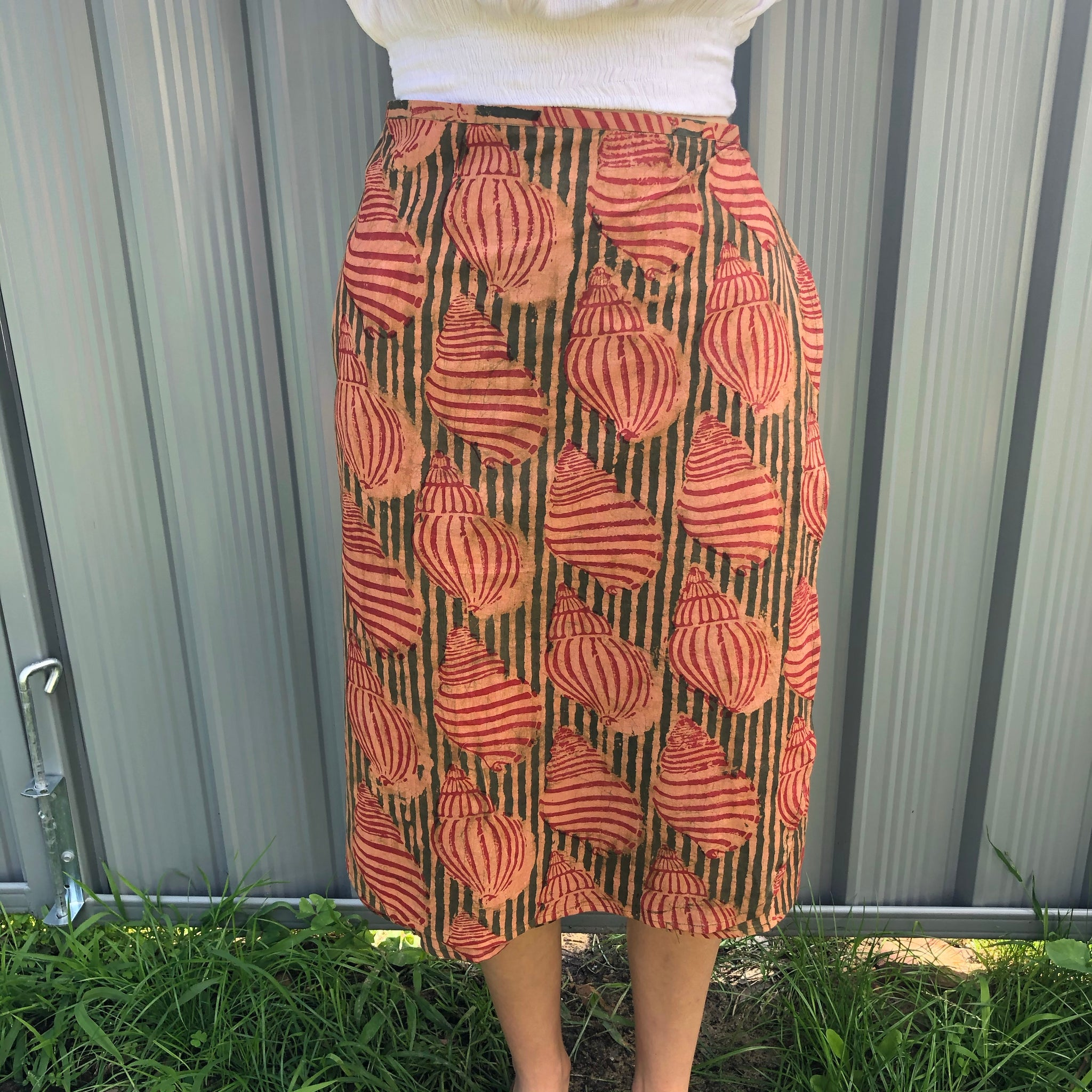 Fair Trade Ethical Cotton Mud Resistant Print Wrap Skirt Shell Design