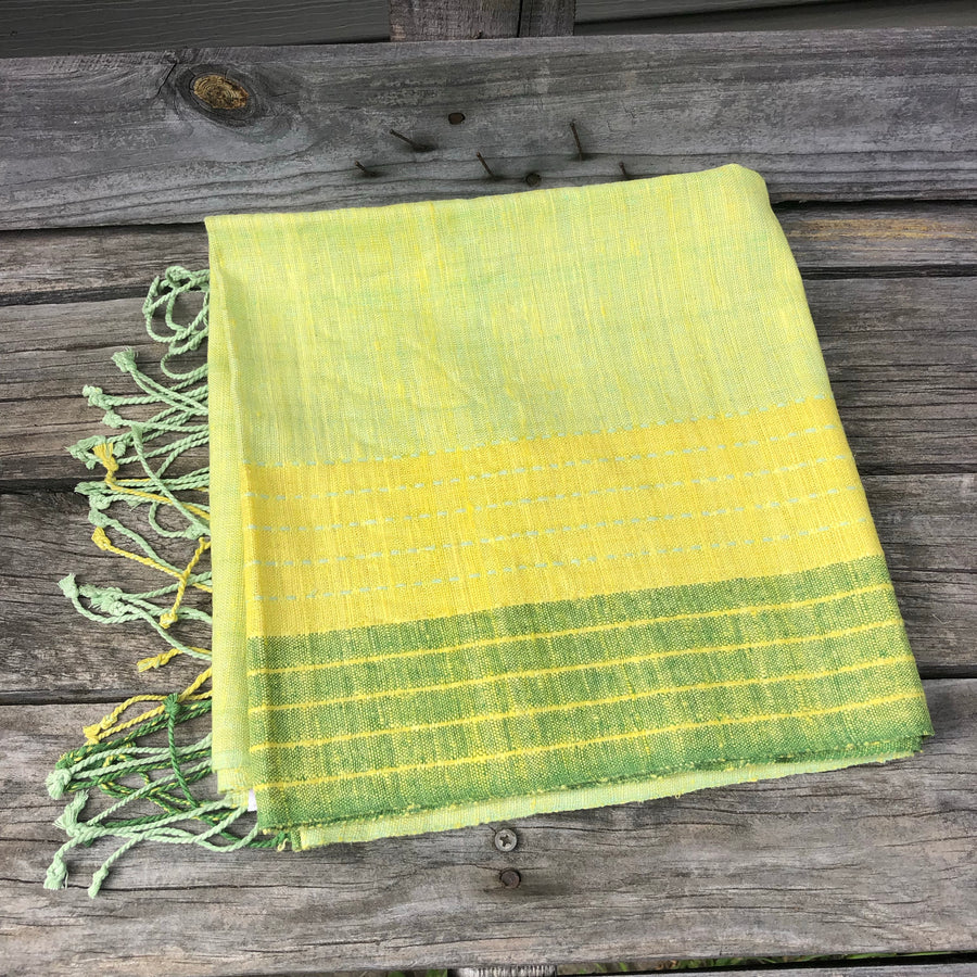 Fair Trade Ethical Non-Violent Silk Scarf Green and Yellow