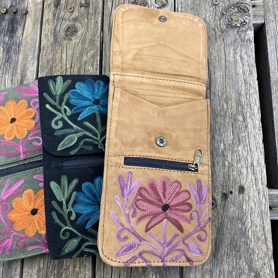 Fair Trade Ethical Embroidered SuedePassport Bag Flower-Assorted