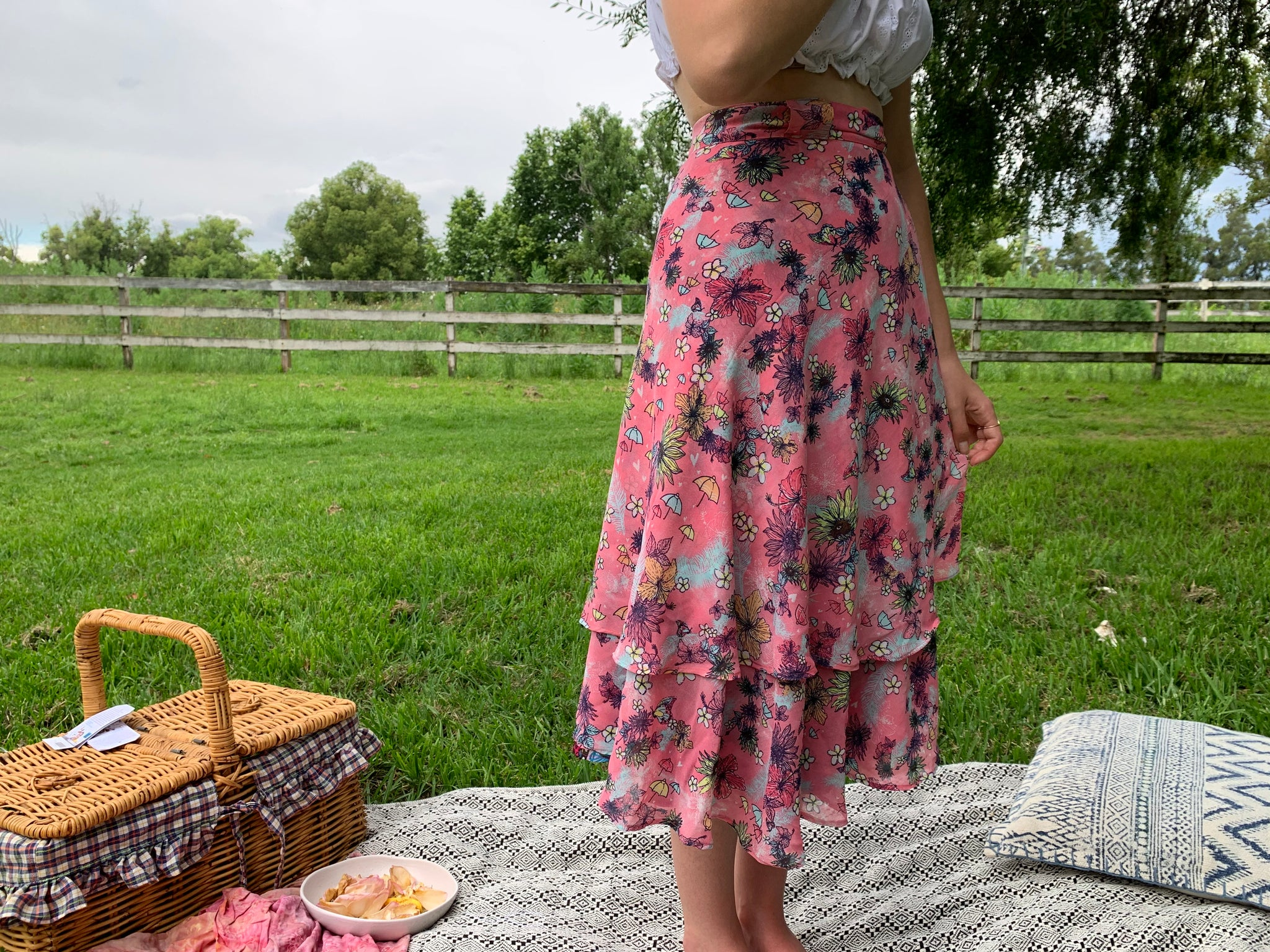 Fair Trade Hibiscus Upcycled Fabric Wrap Skirt