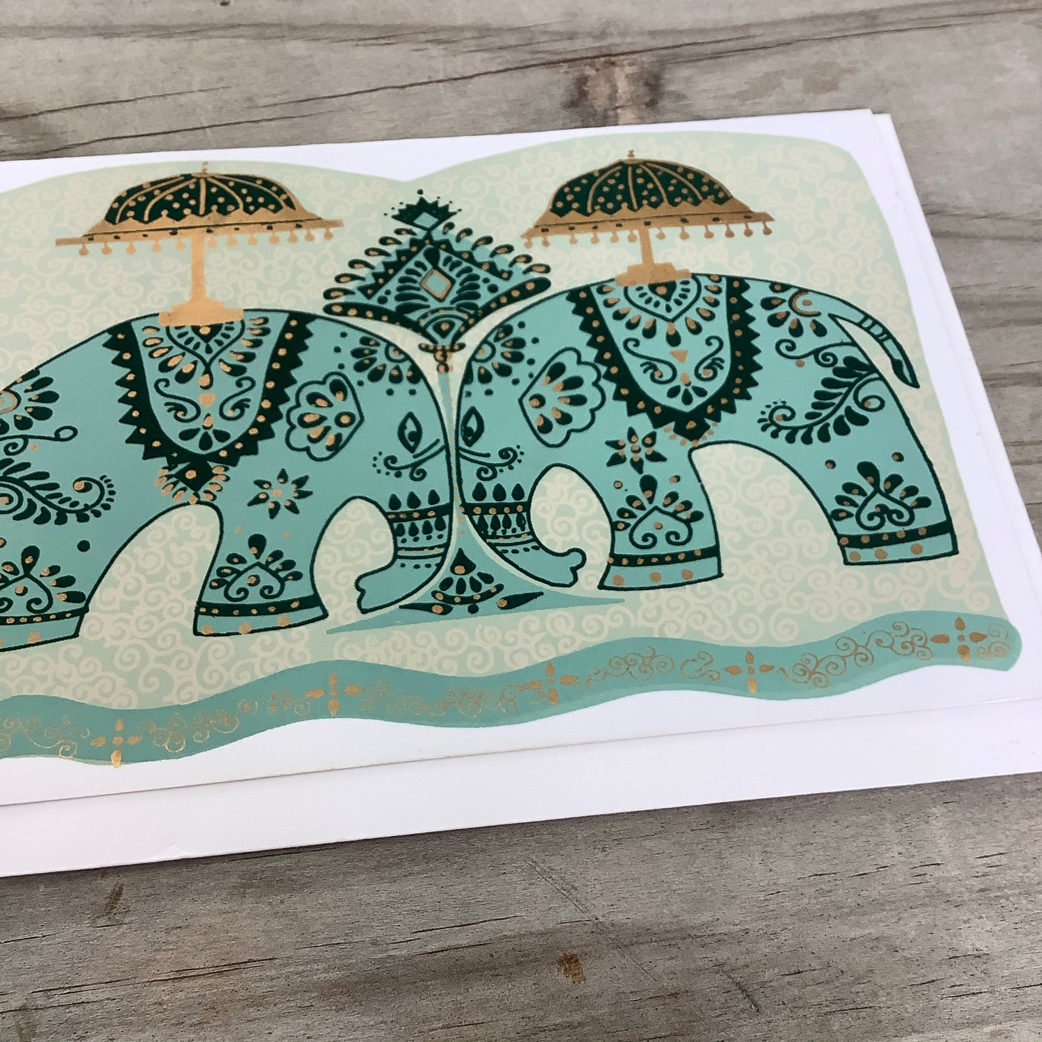 Fair Trade Golden Elephants Greeting Card