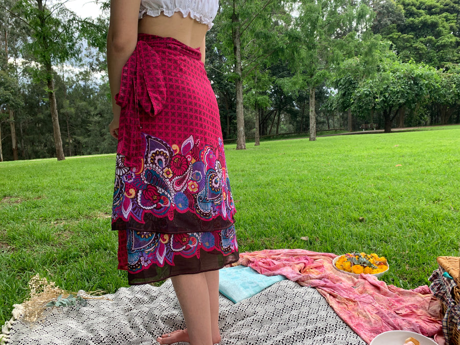 Fair Trade Pasiley Magenta Upcycled Fabric Wrap Skirt