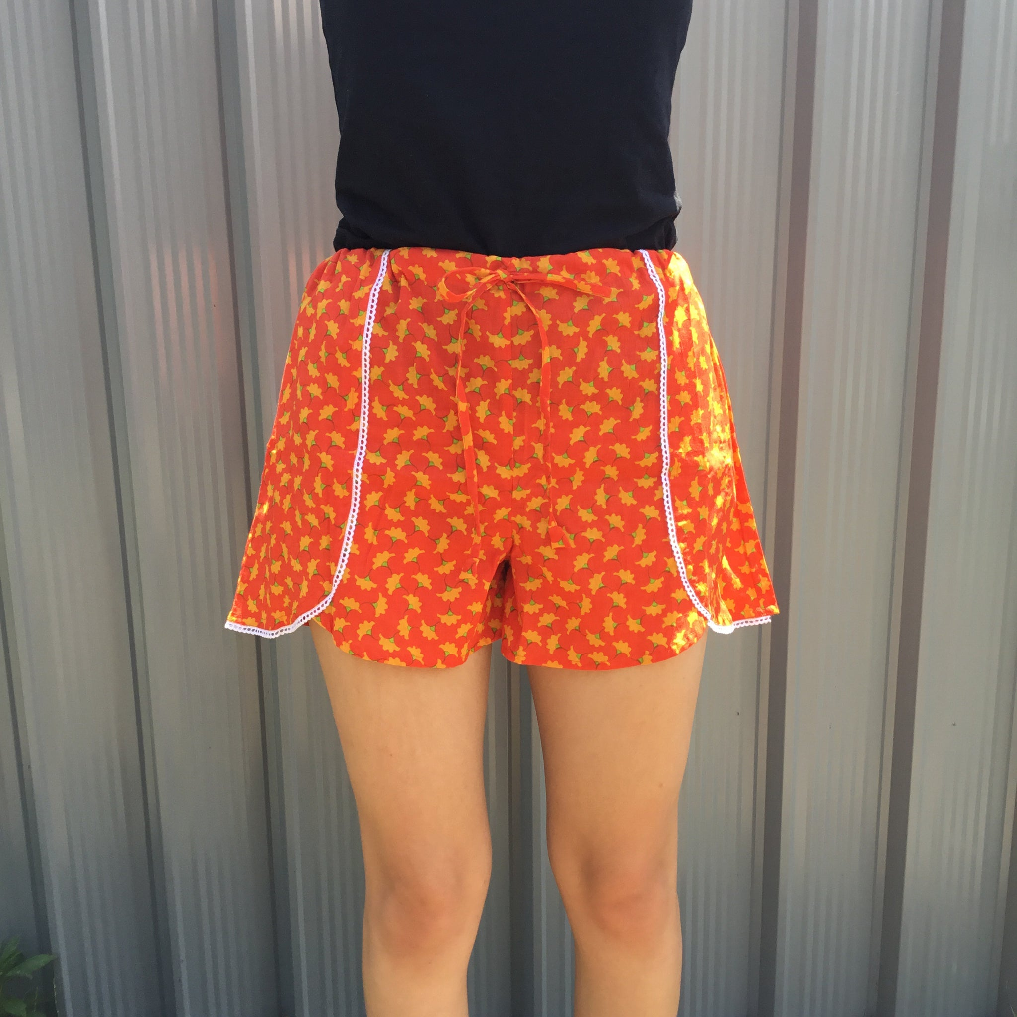 Fair Trade Floral Jammie Shorts Orange Yellow & Green