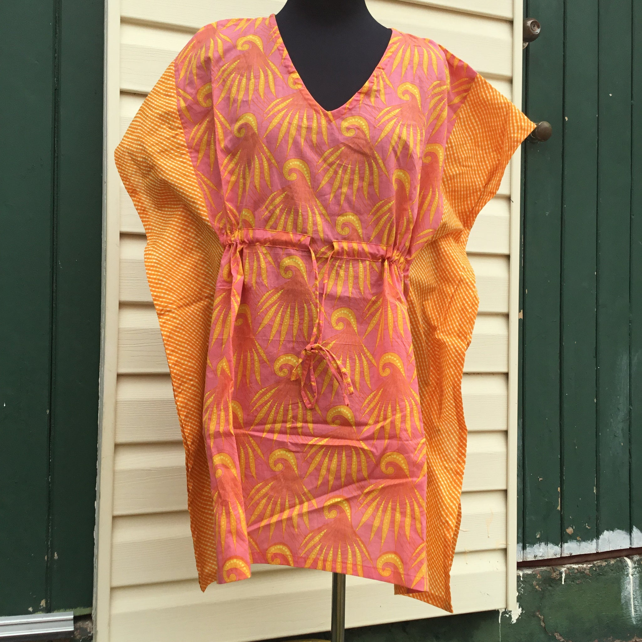 Fair Trade Short Kaftan Orange & Yellow